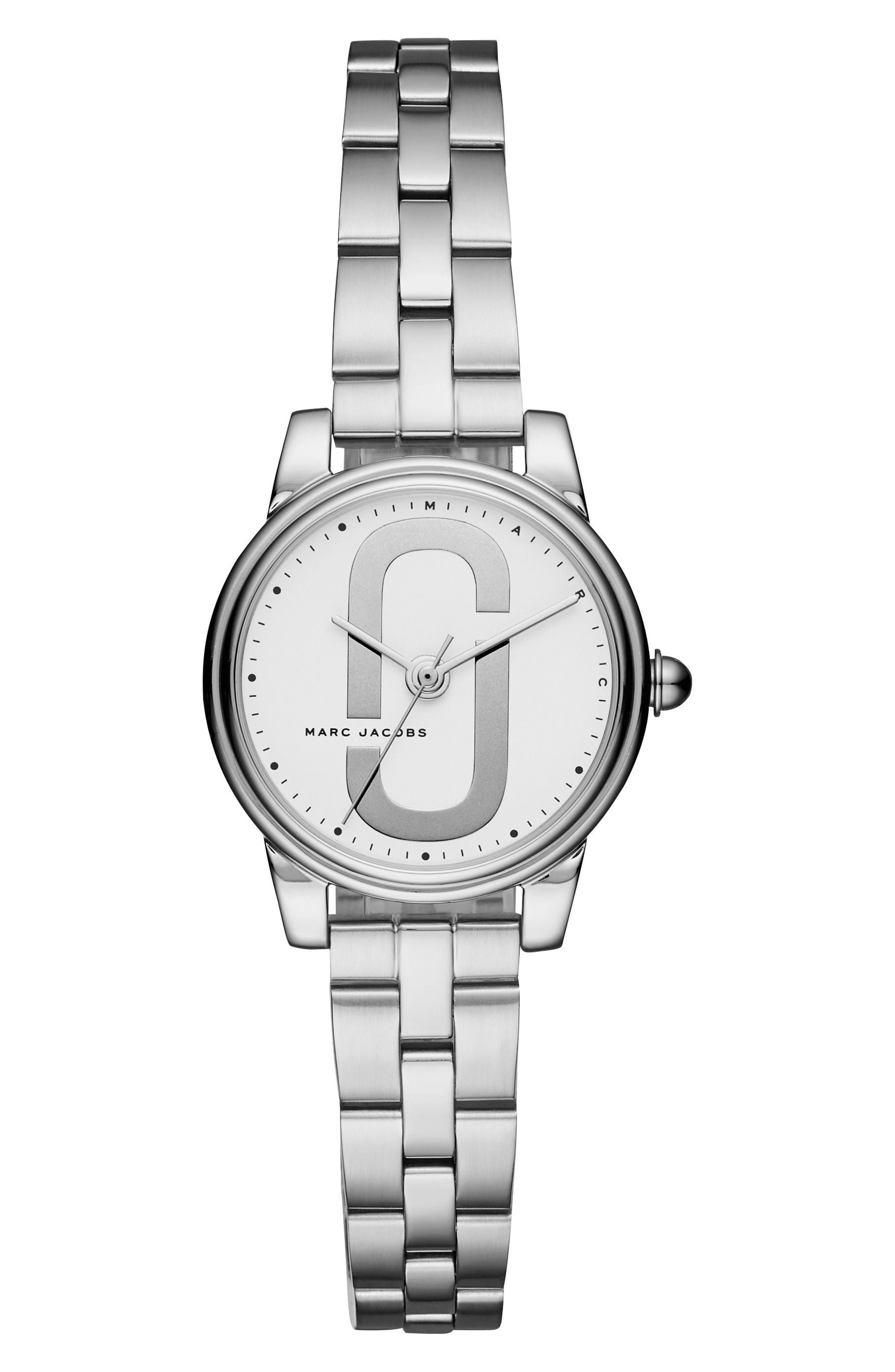 Corie Bracelet Watch, 28mm,                         Main,                         color, Silver/ White/ Silver