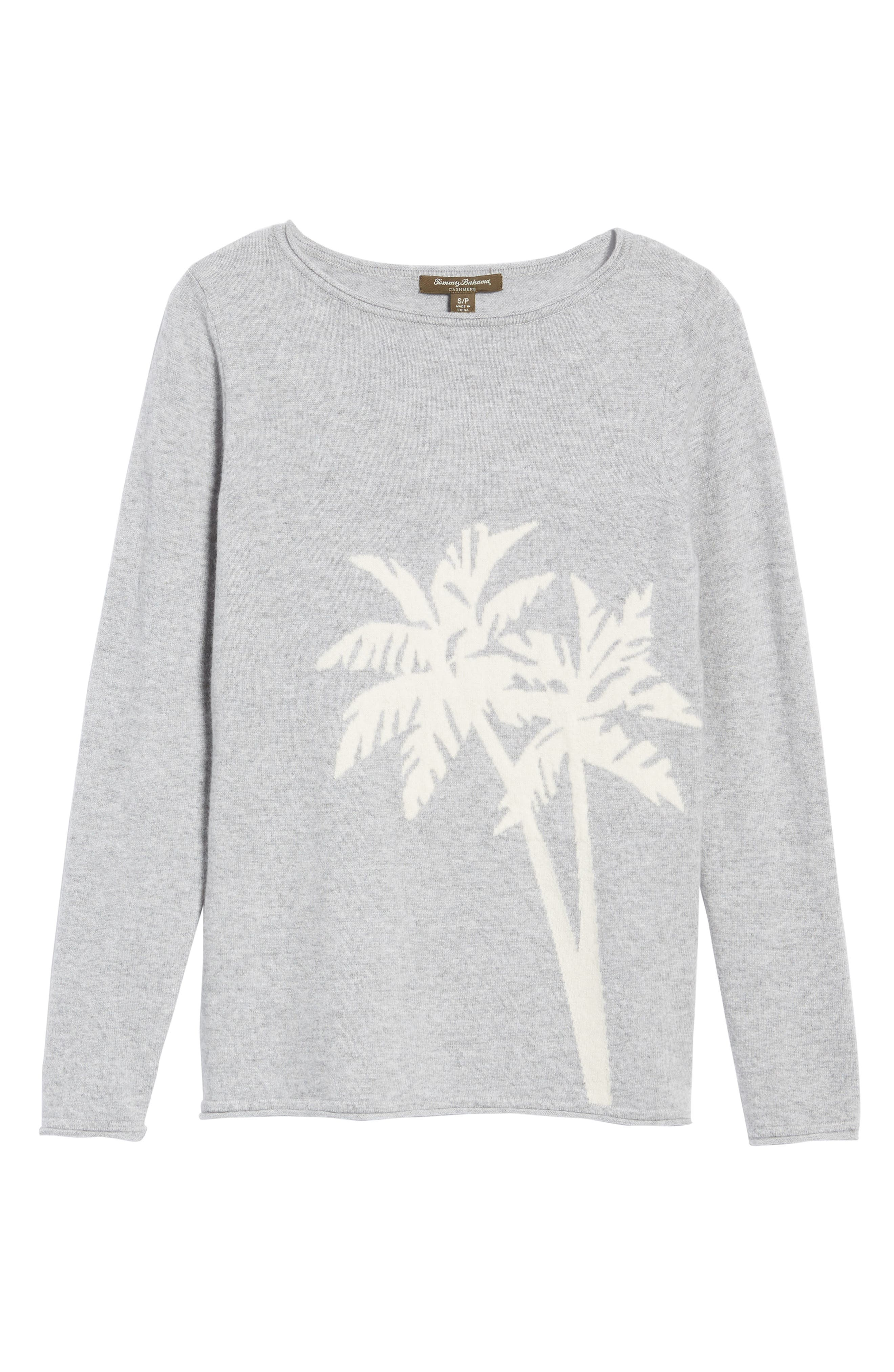 Island Palm Intarsia Cashmere Pullover,                             Alternate thumbnail 6, color,                             Light Grey Heather