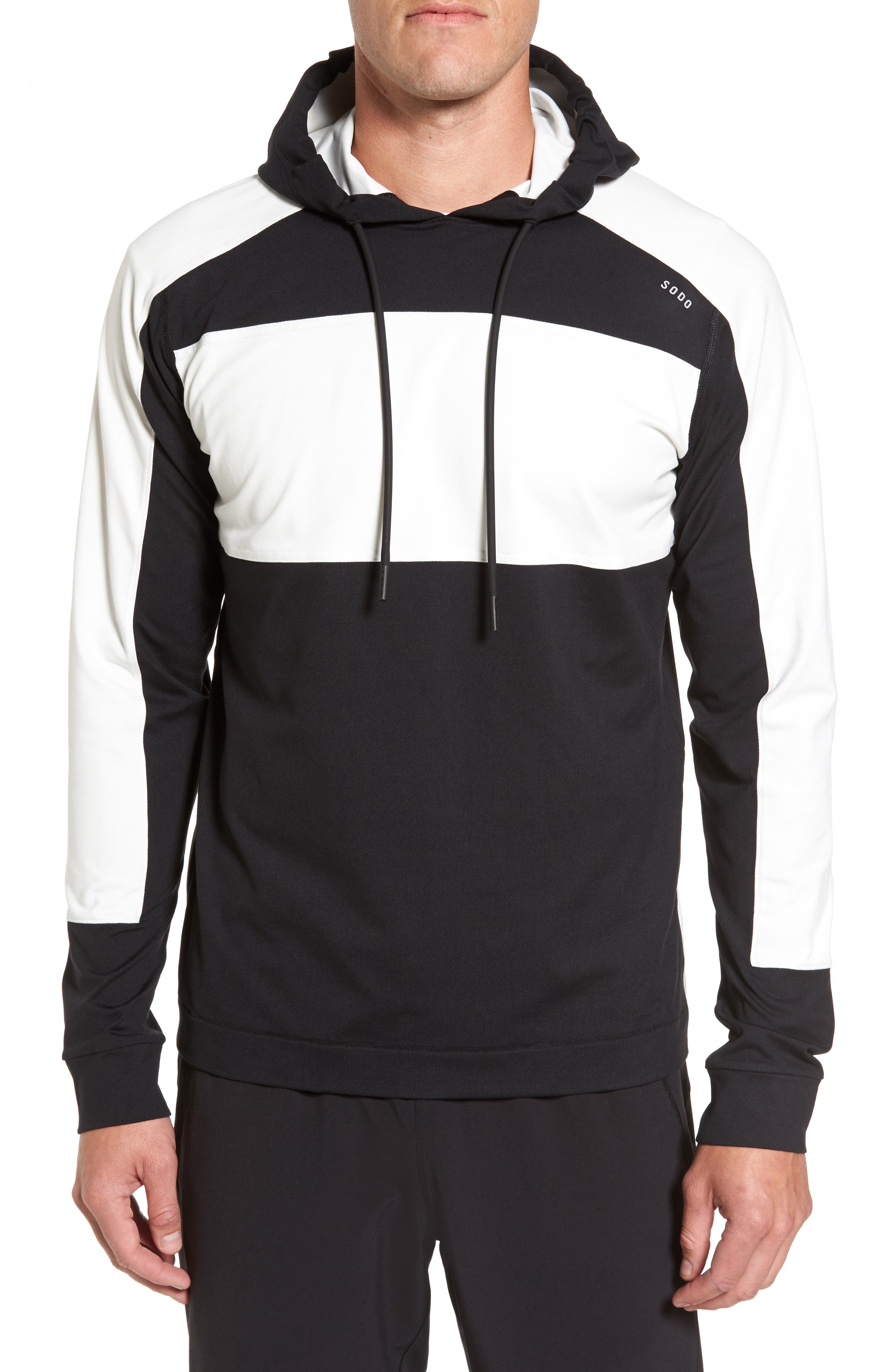 Colorblock Stretch Hoodie,                         Main,                         color, Black/ White