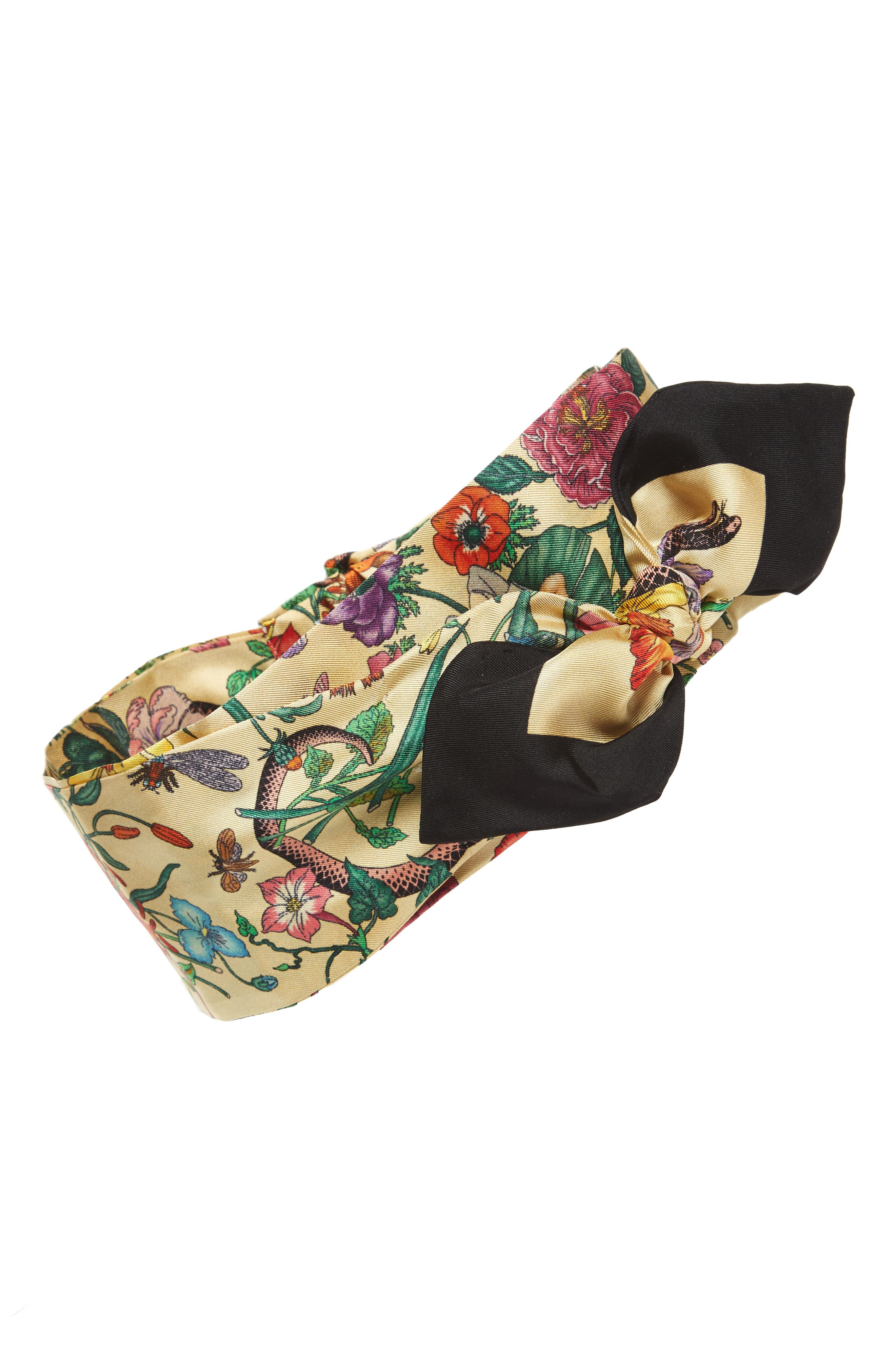 Gucci Tea Floral Snake Silk Headband