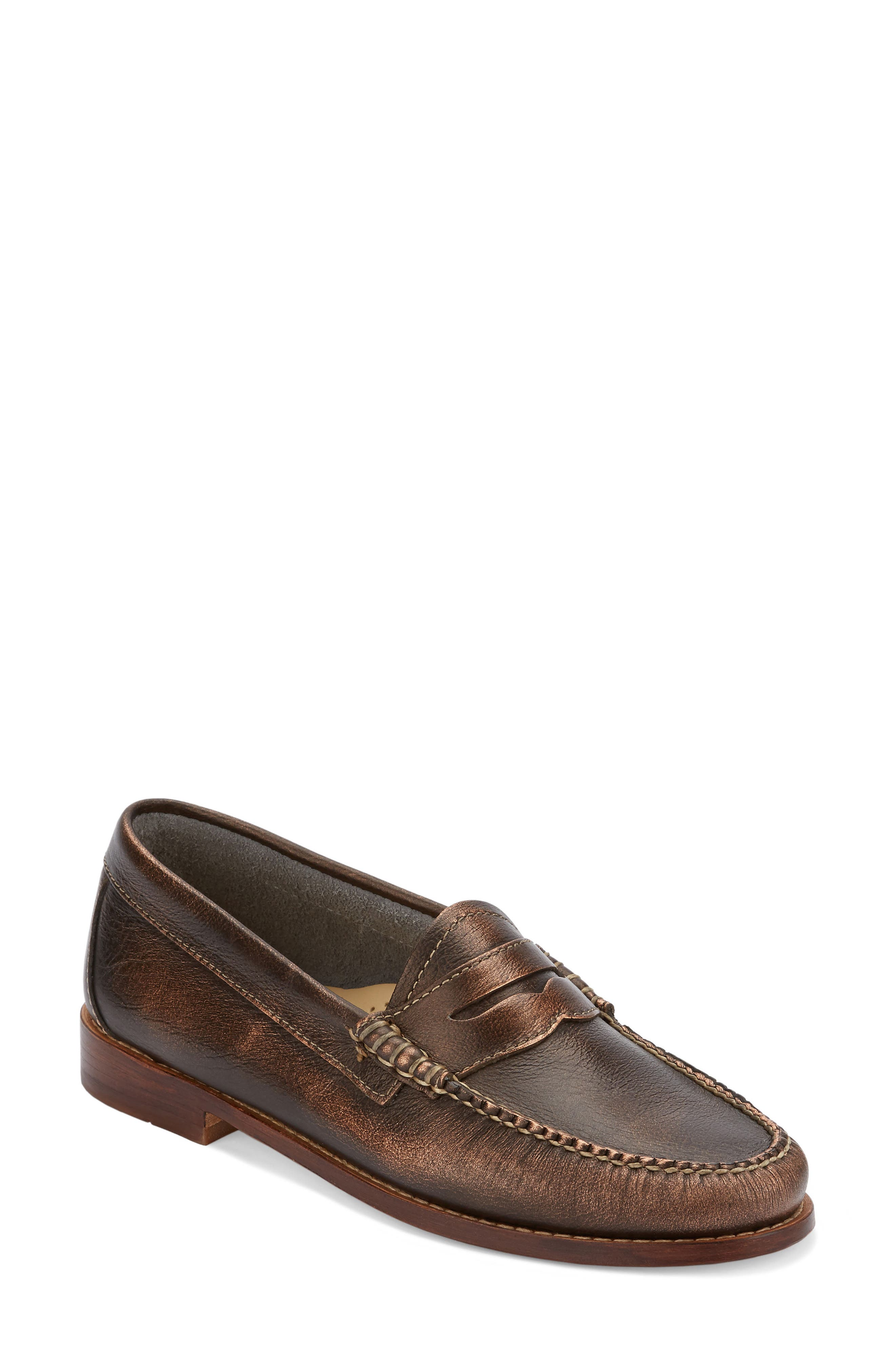 'Whitney' Loafer,                         Main,                         color, Copper/ Copper Leather