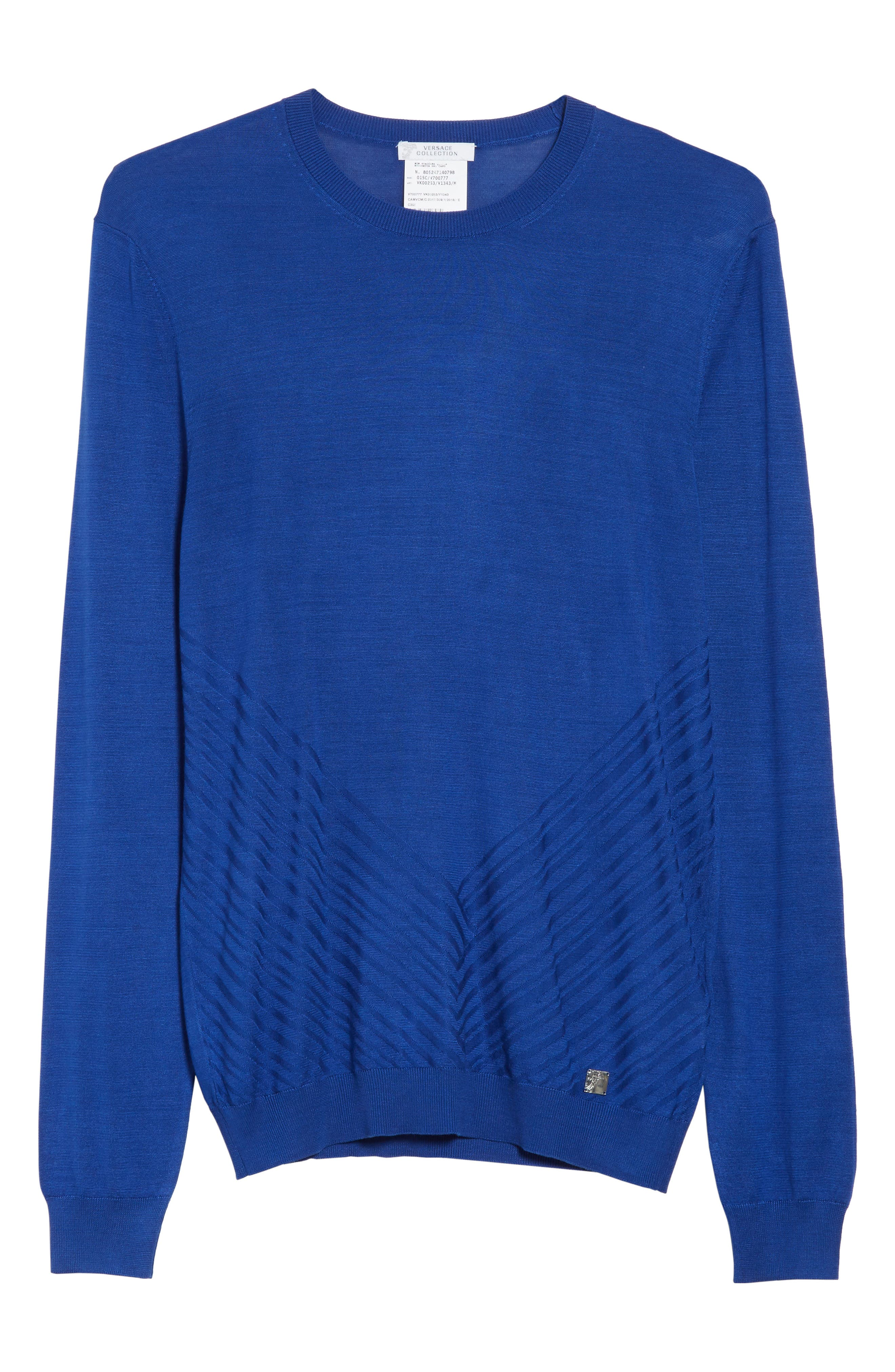 Silk Crewneck Sweater,                             Alternate thumbnail 6, color,                             Royal Blue