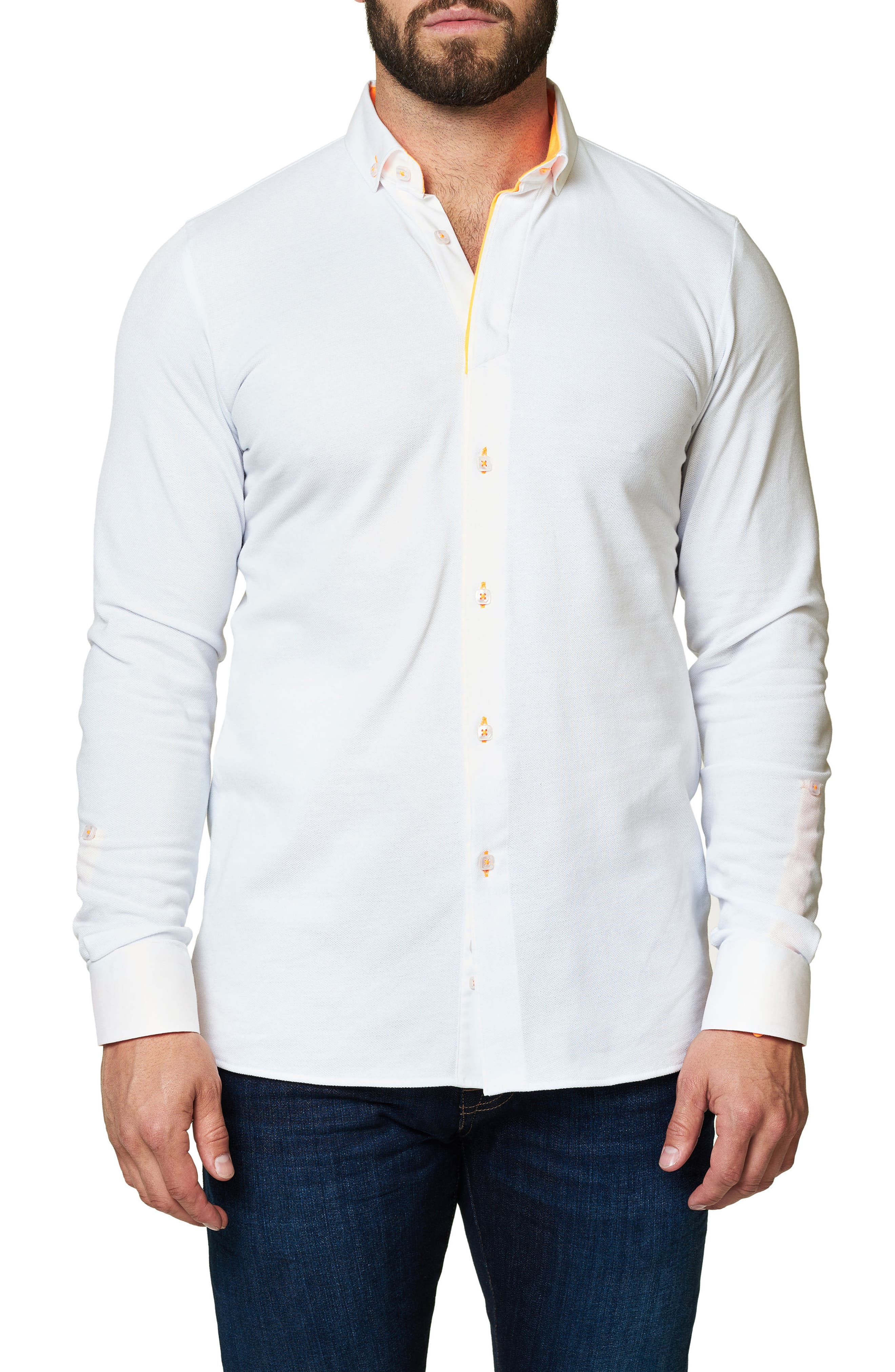 Long Sleeve Sport Shirt,                         Main,                         color, Solid White