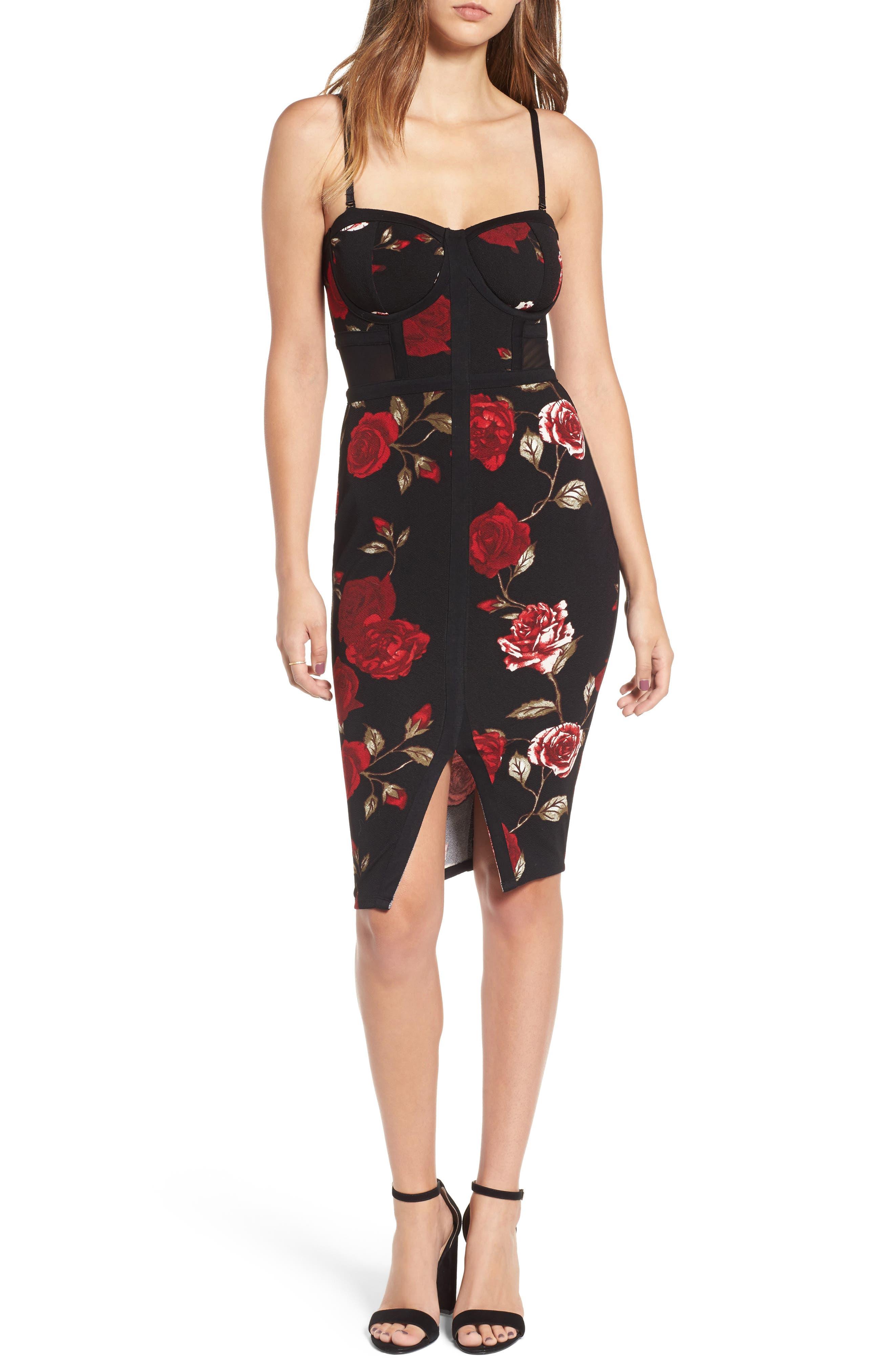LOVE, FIRE Floral Bustier Body-Con Dress