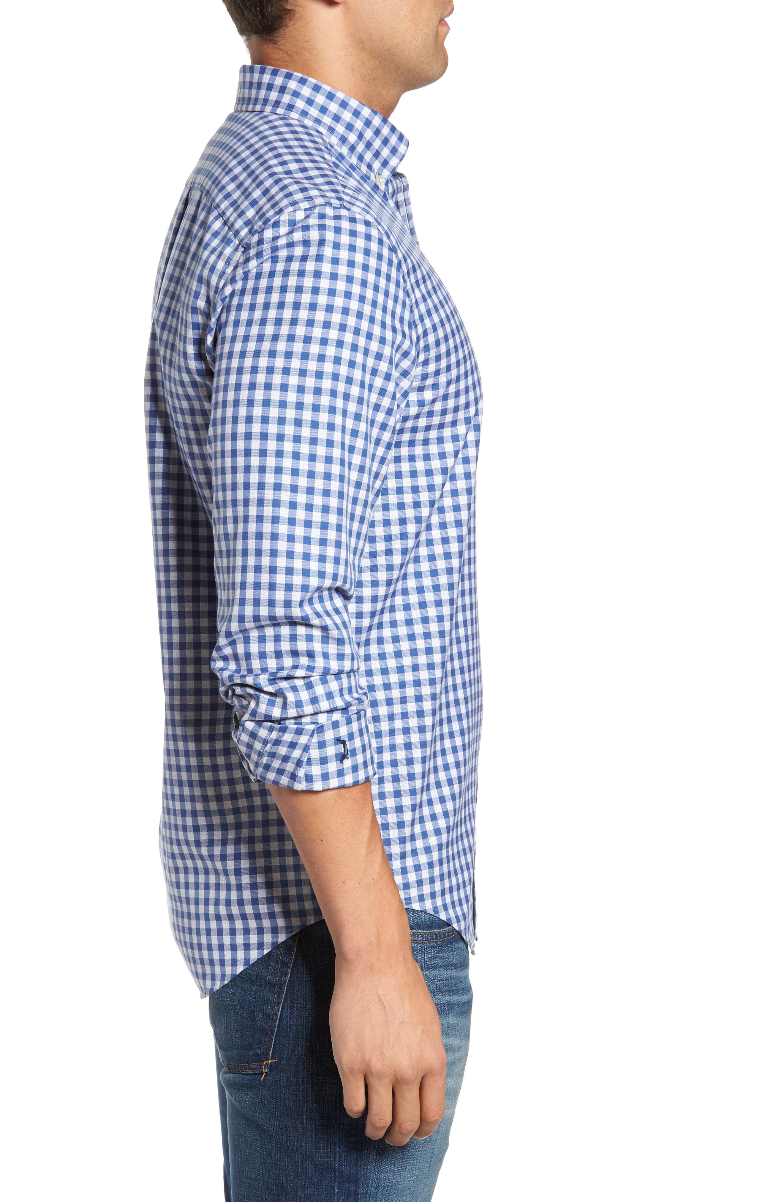 Classic Fit Tucker Cliff Gingham Sport Shirt,                             Alternate thumbnail 3, color,                             Moonshine
