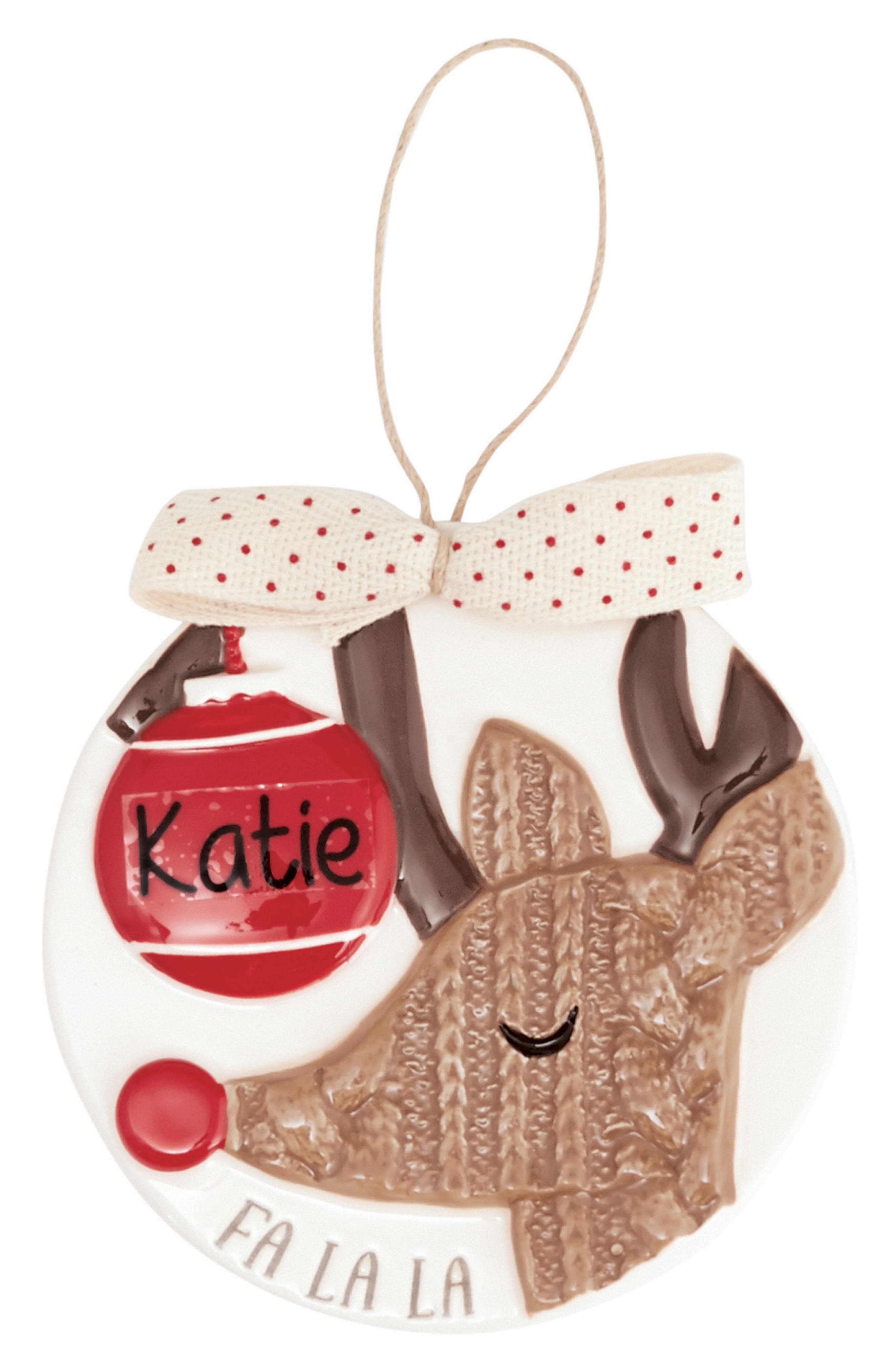 Reindeer Ornament with Personalization Sticker,                             Main thumbnail 1, color,                             White/ Red