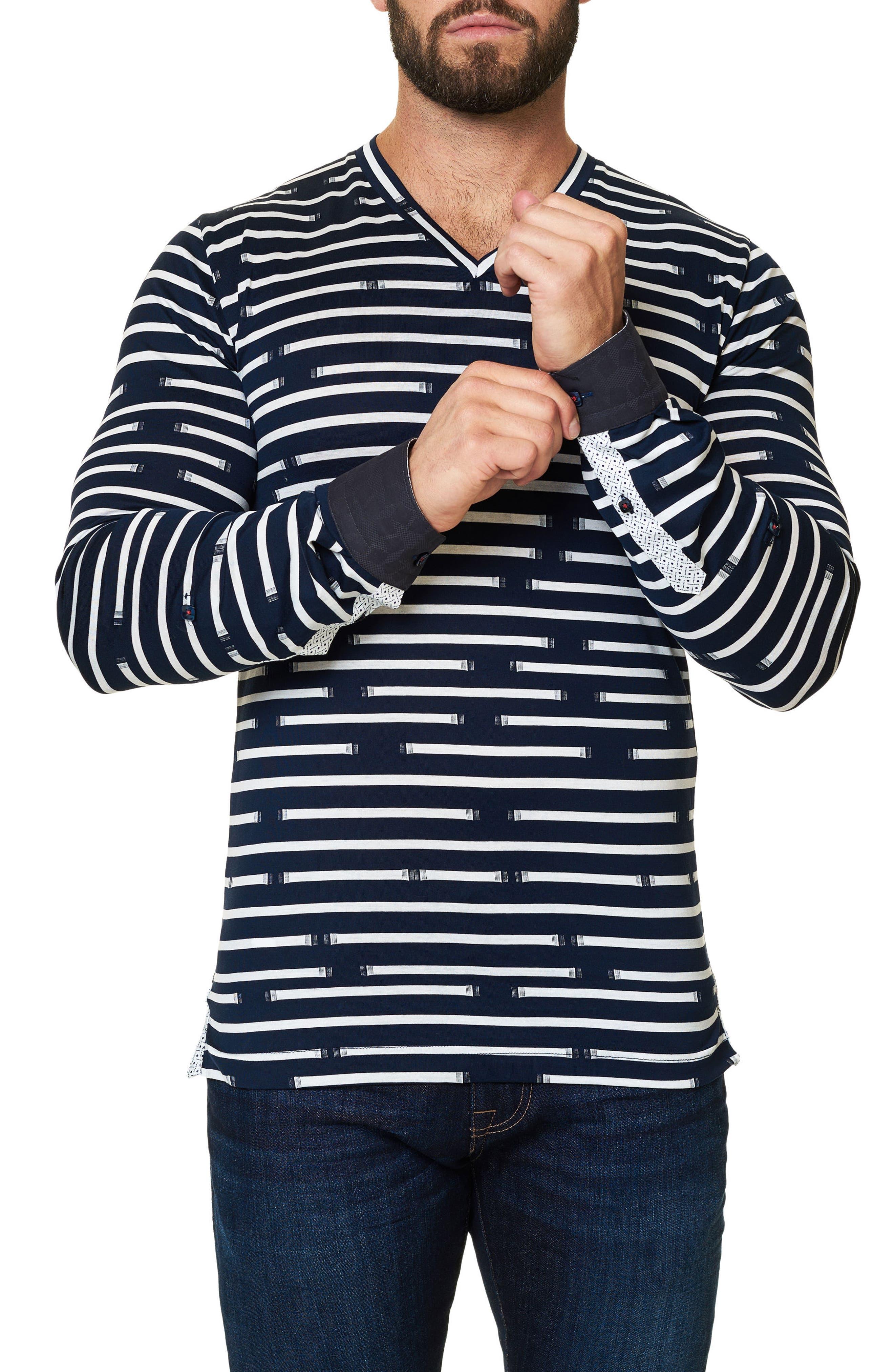 Print V-Neck T-Shirt,                             Alternate thumbnail 3, color,                             Navy Blue