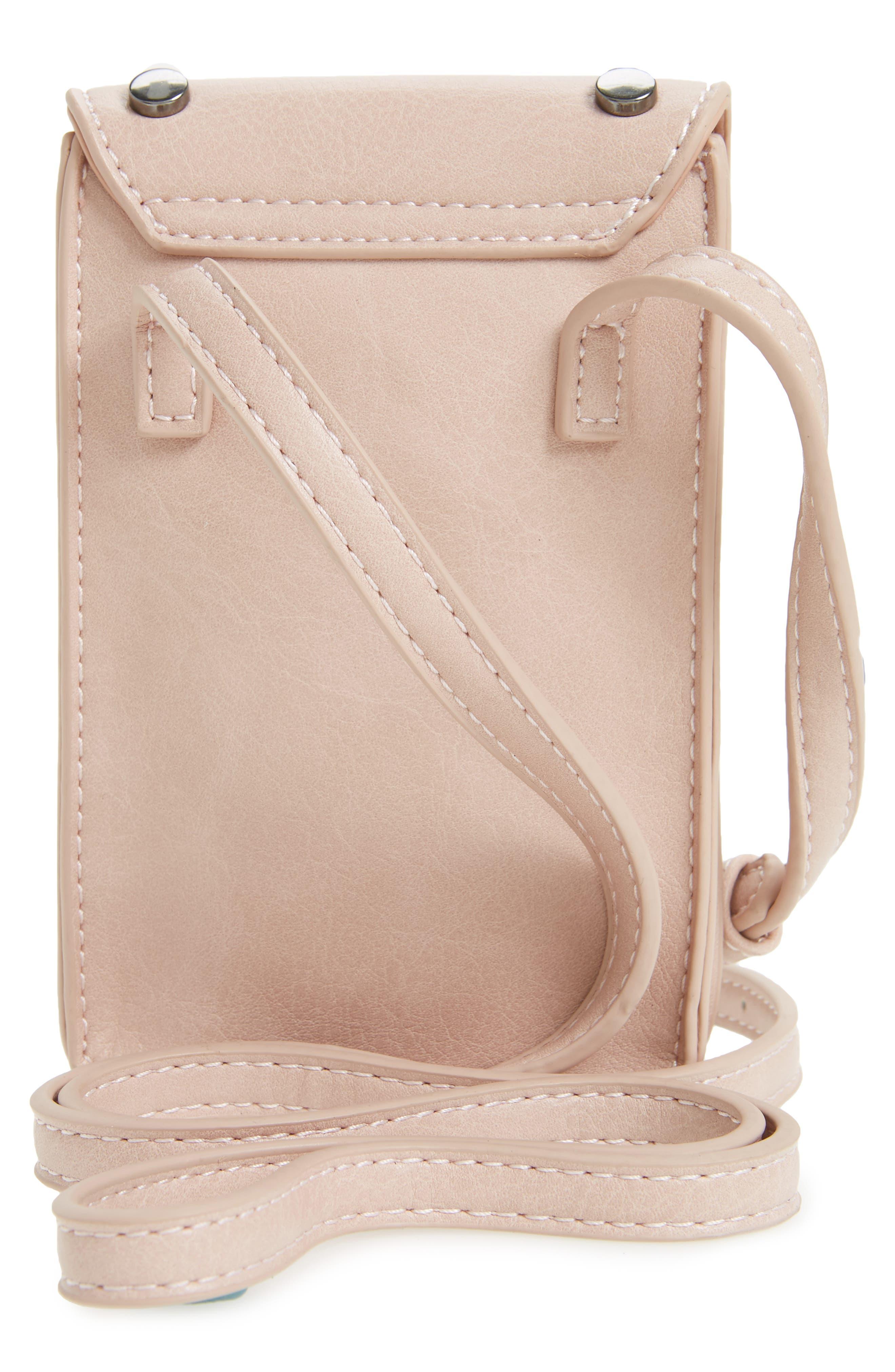 Studded Phone Crossbody Bag,                             Alternate thumbnail 2, color,                             Blush/ Hematite