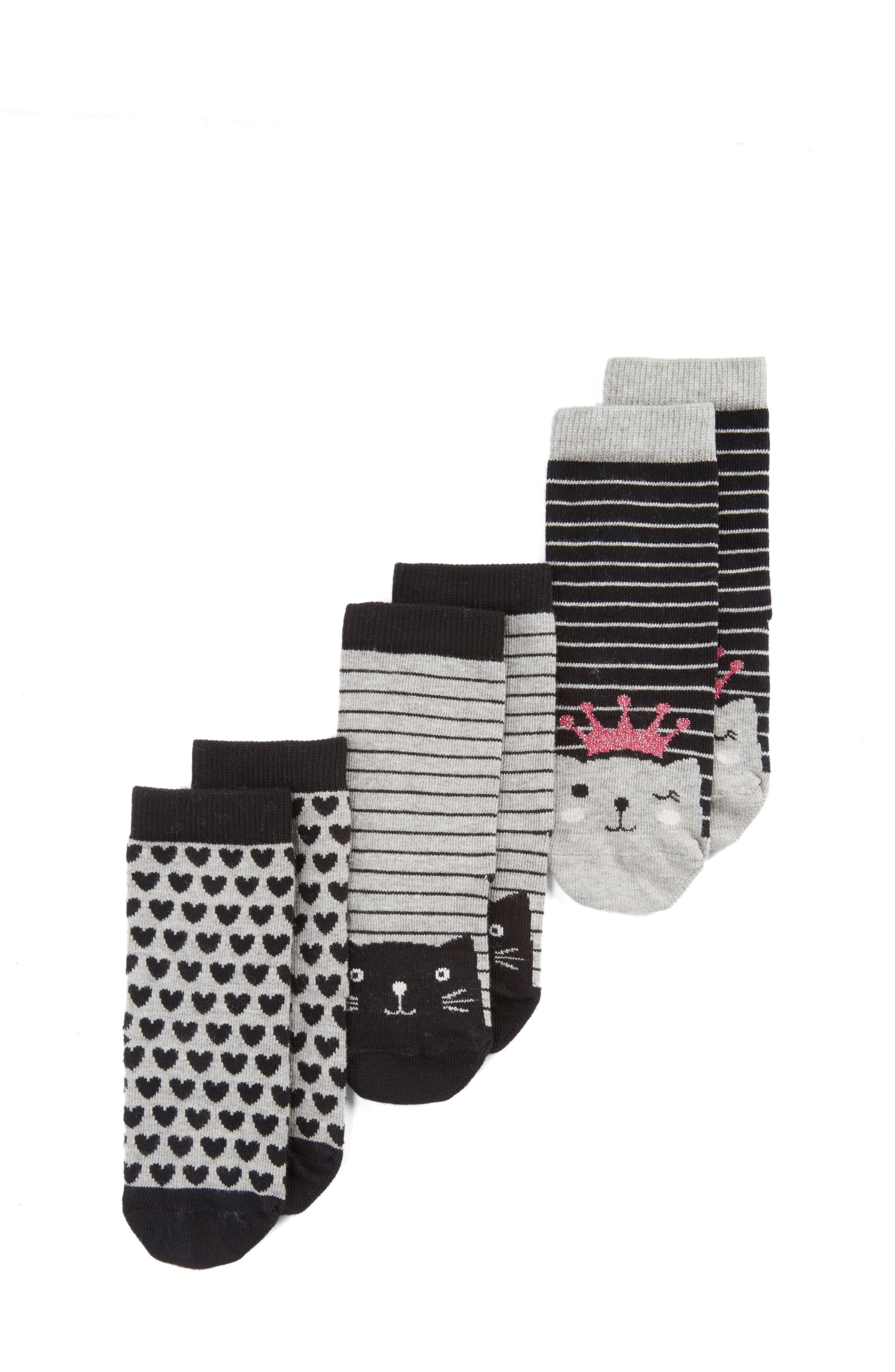 Assorted 3-Pack Kitty Face Socks,                         Main,                         color, Black/ Grey Stripe Kitty