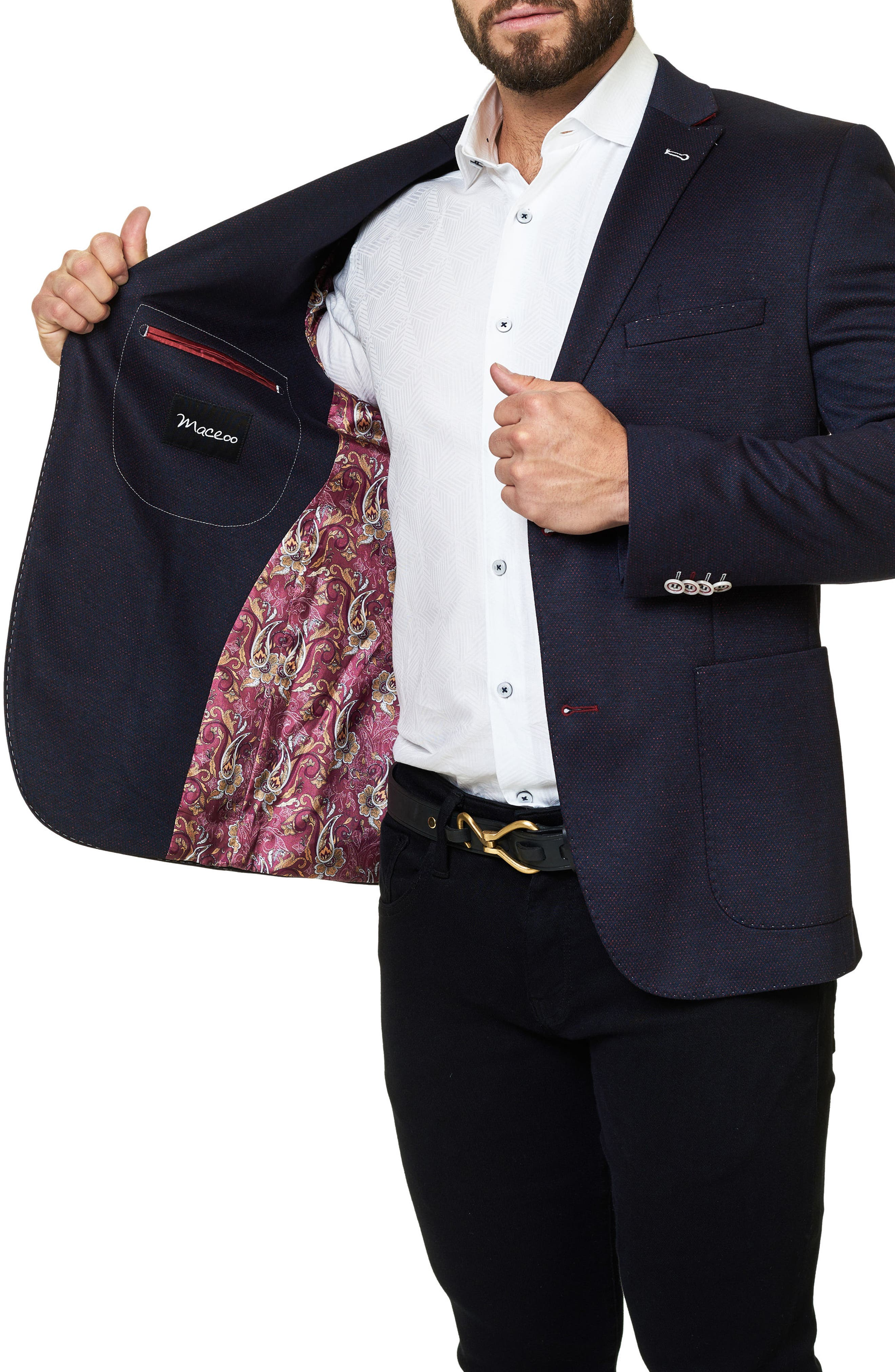 Alternate Image 4  - Maceoo Slim Fit Jacquard Blazer