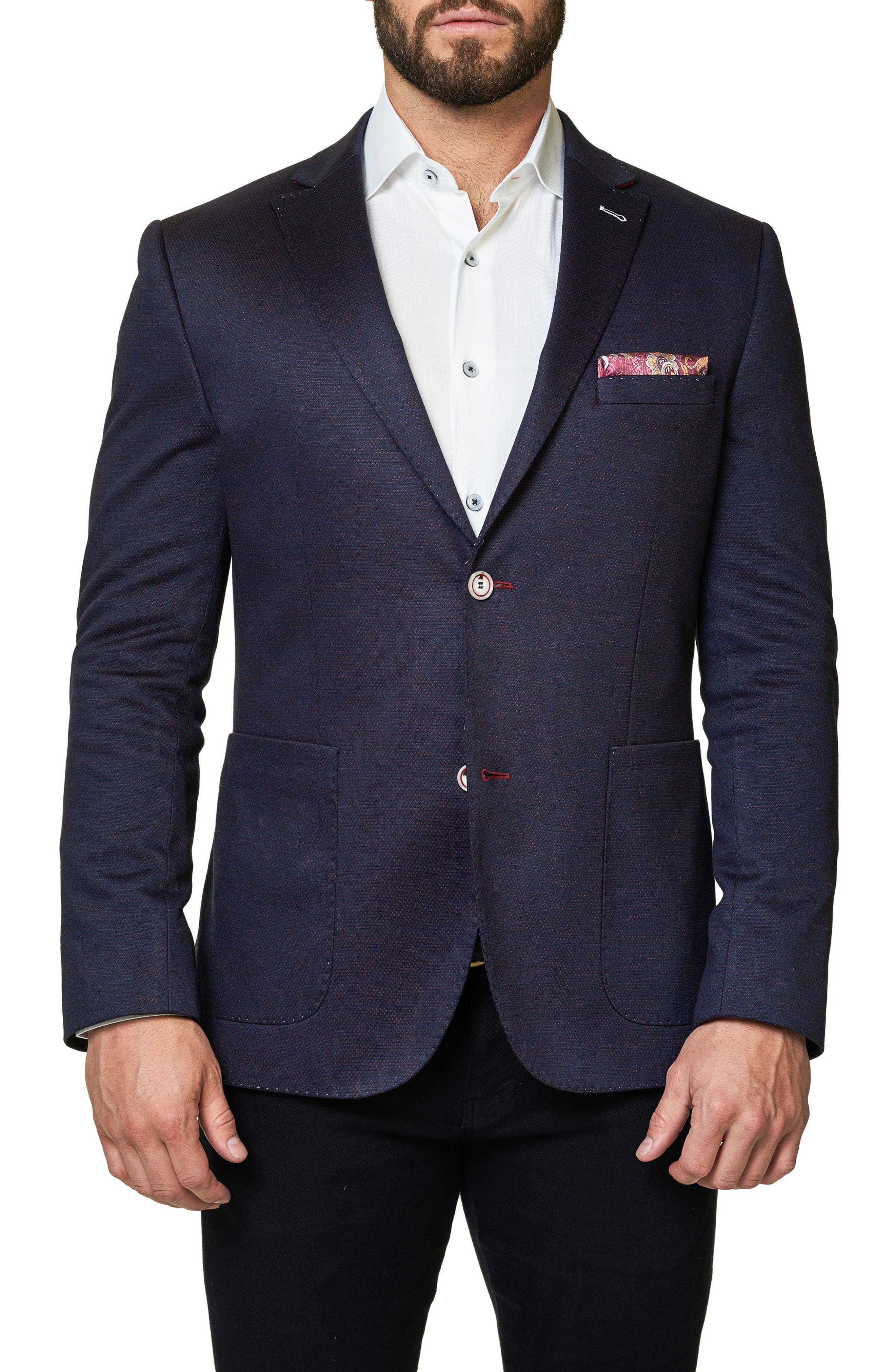 Slim Fit Jacquard Blazer,                         Main,                         color, Medium Red
