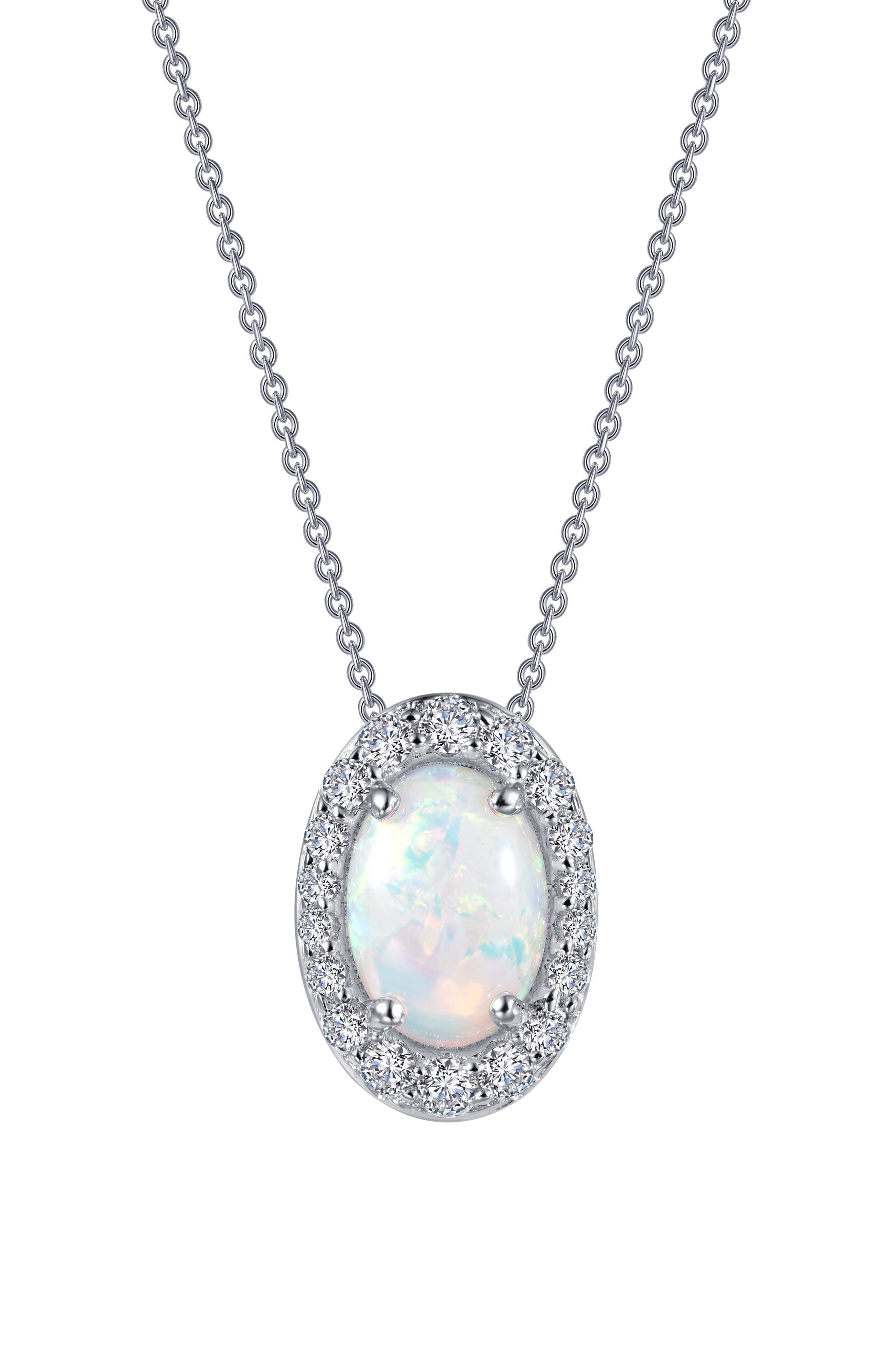 Simulated Opal Halo Pendant Necklace,                             Alternate thumbnail 3, color,                             Silver/ Opal/ Clear