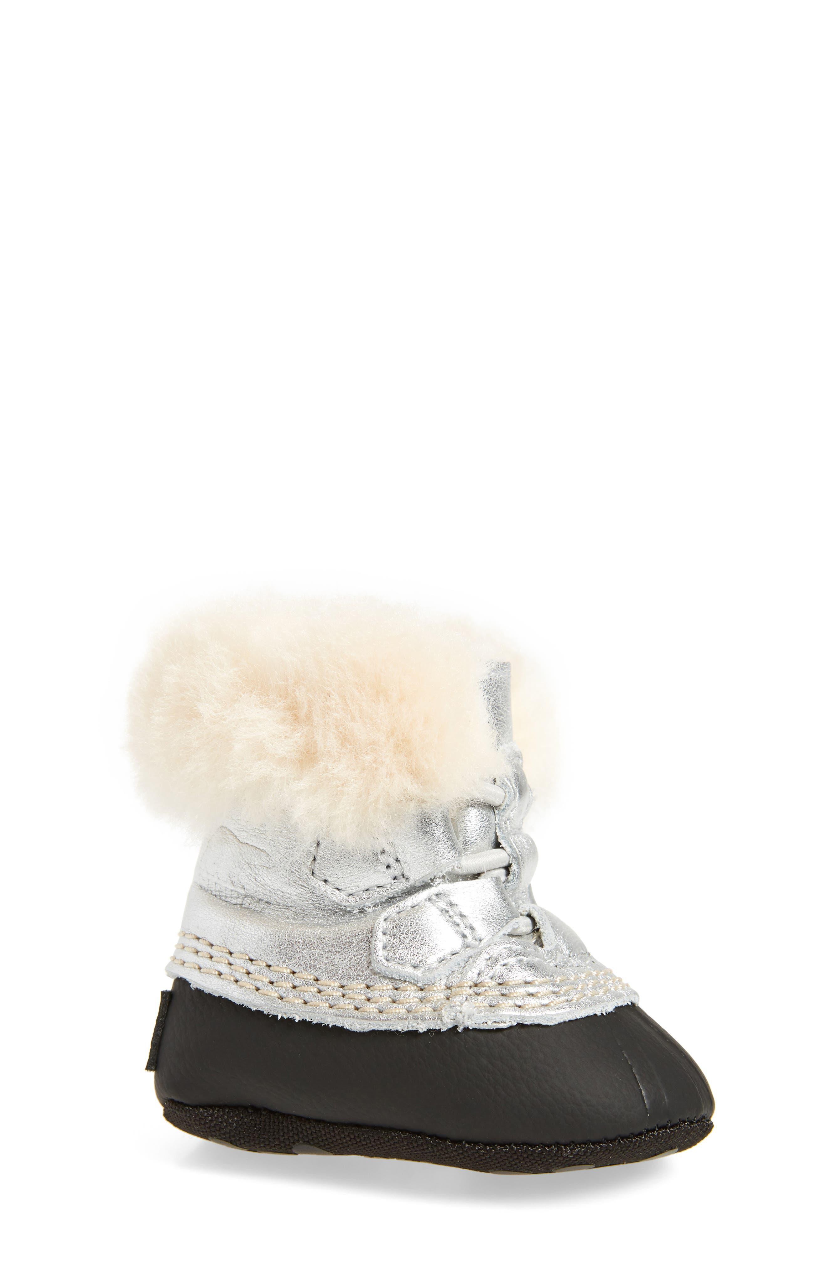 SOREL Caribootie Genuine Shearling Crib Shoe (Baby)