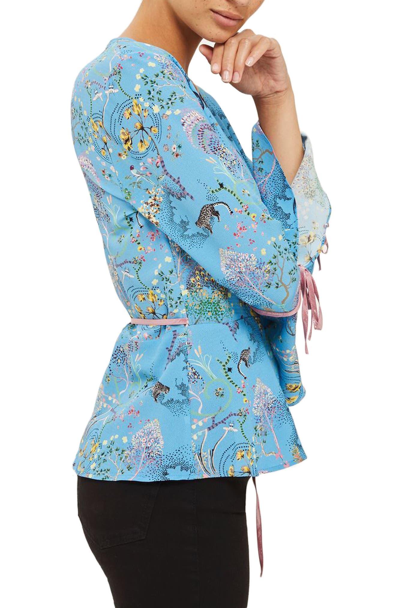 Magical Leopard Print Wrap Blouse,                             Alternate thumbnail 2, color,                             Blue Multi
