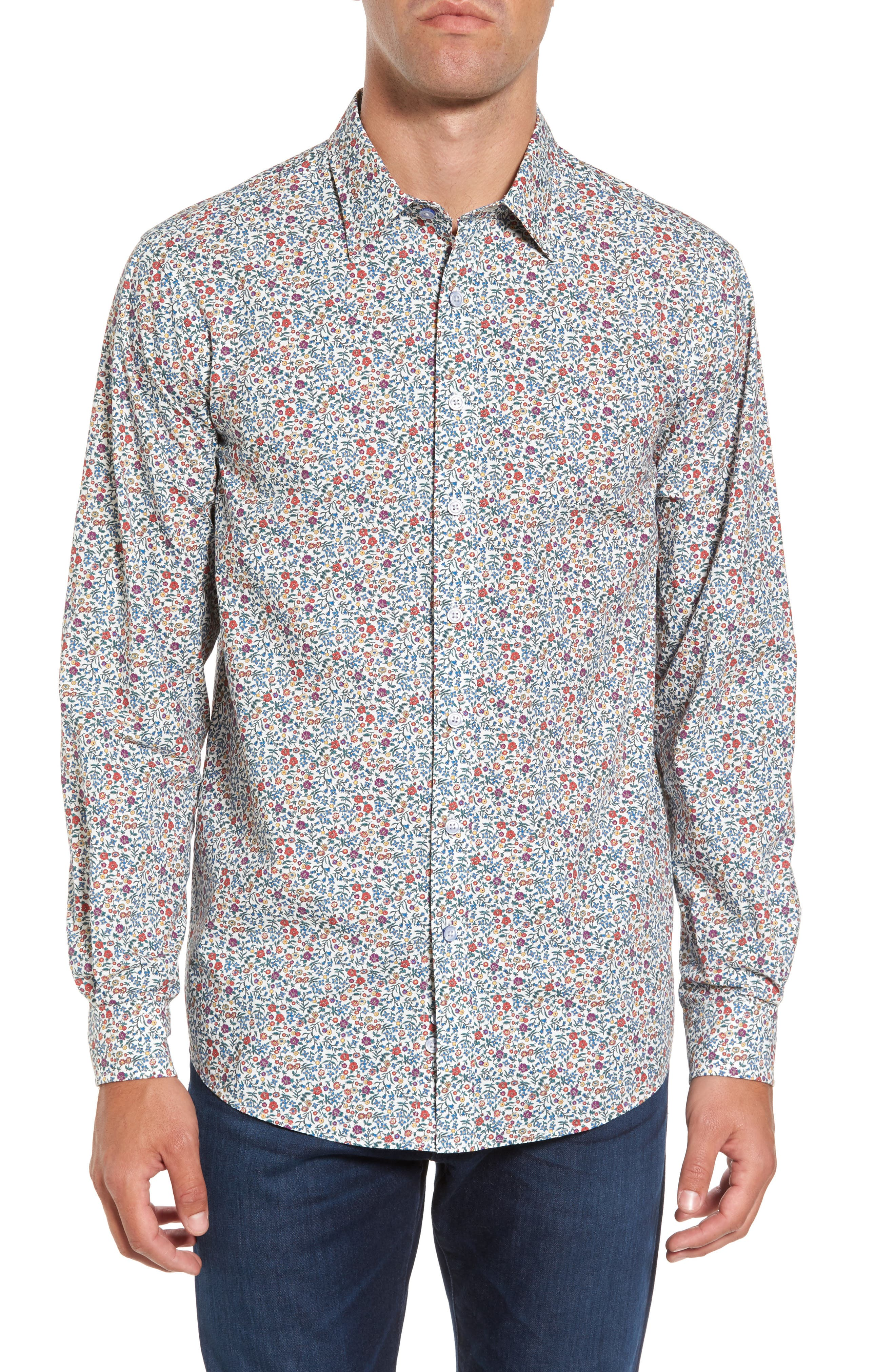 Cowes Bay Regular Fit Floral Sport Shirt,                             Main thumbnail 1, color,                             Botanical