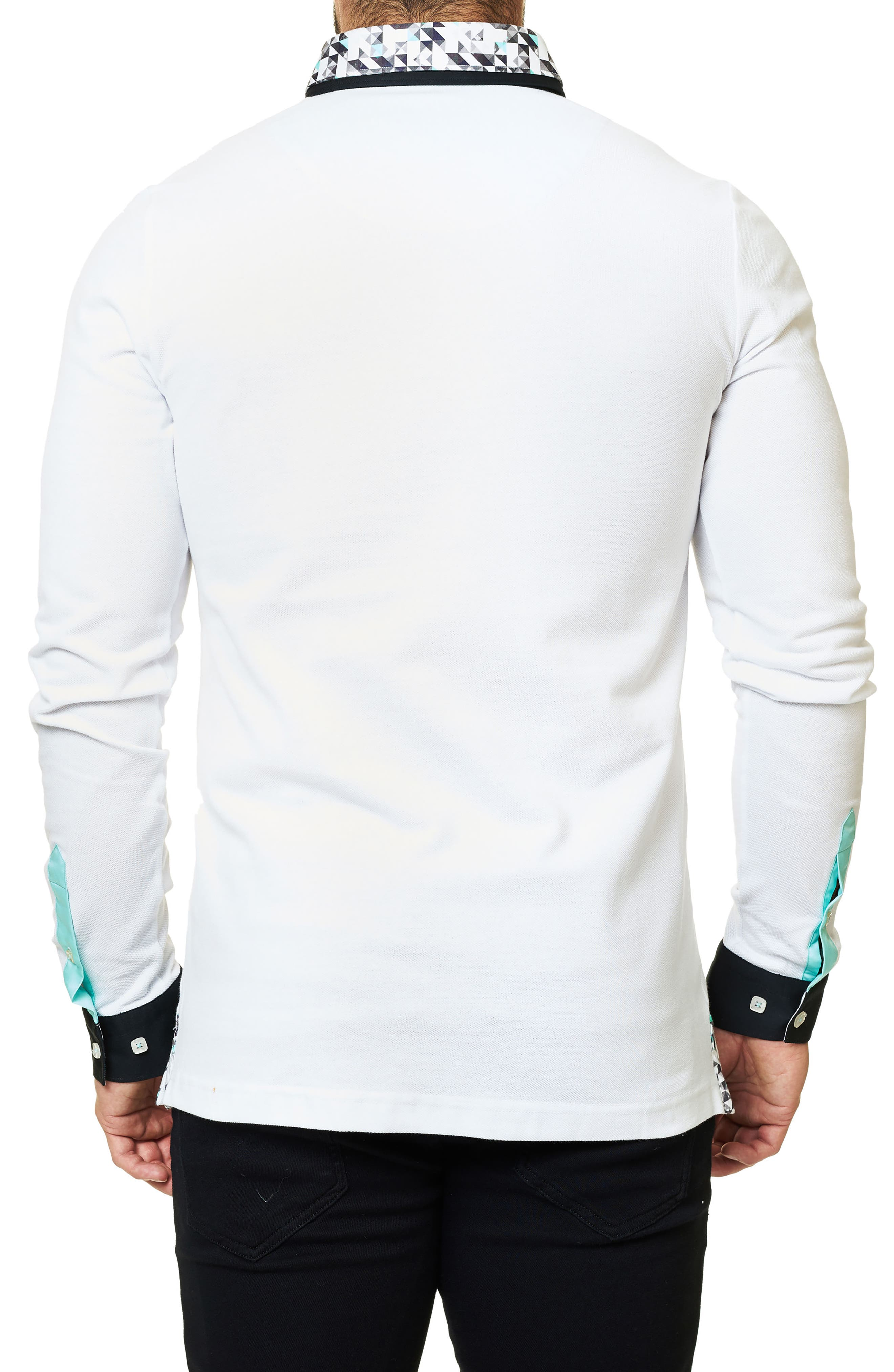 Long Sleeve Polo,                             Alternate thumbnail 2, color,                             Solid White