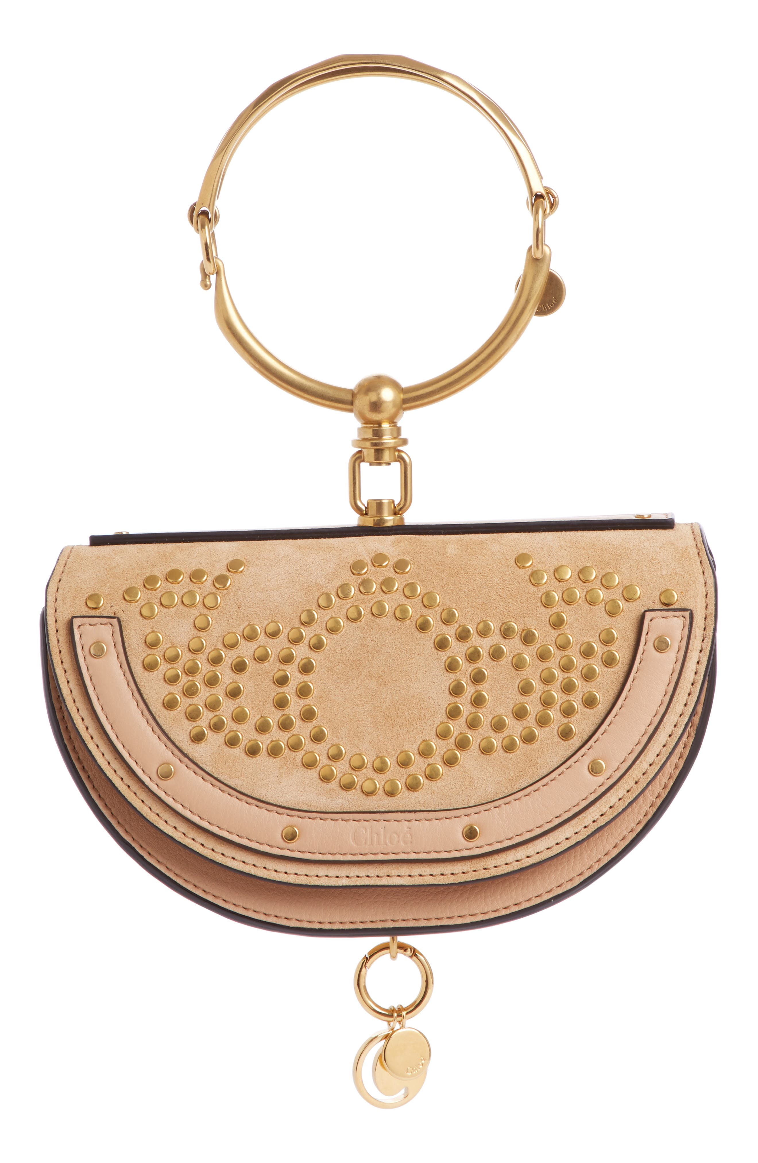 CHLOÉ Small Nile Studded Suede & Leather Crossbody Bag