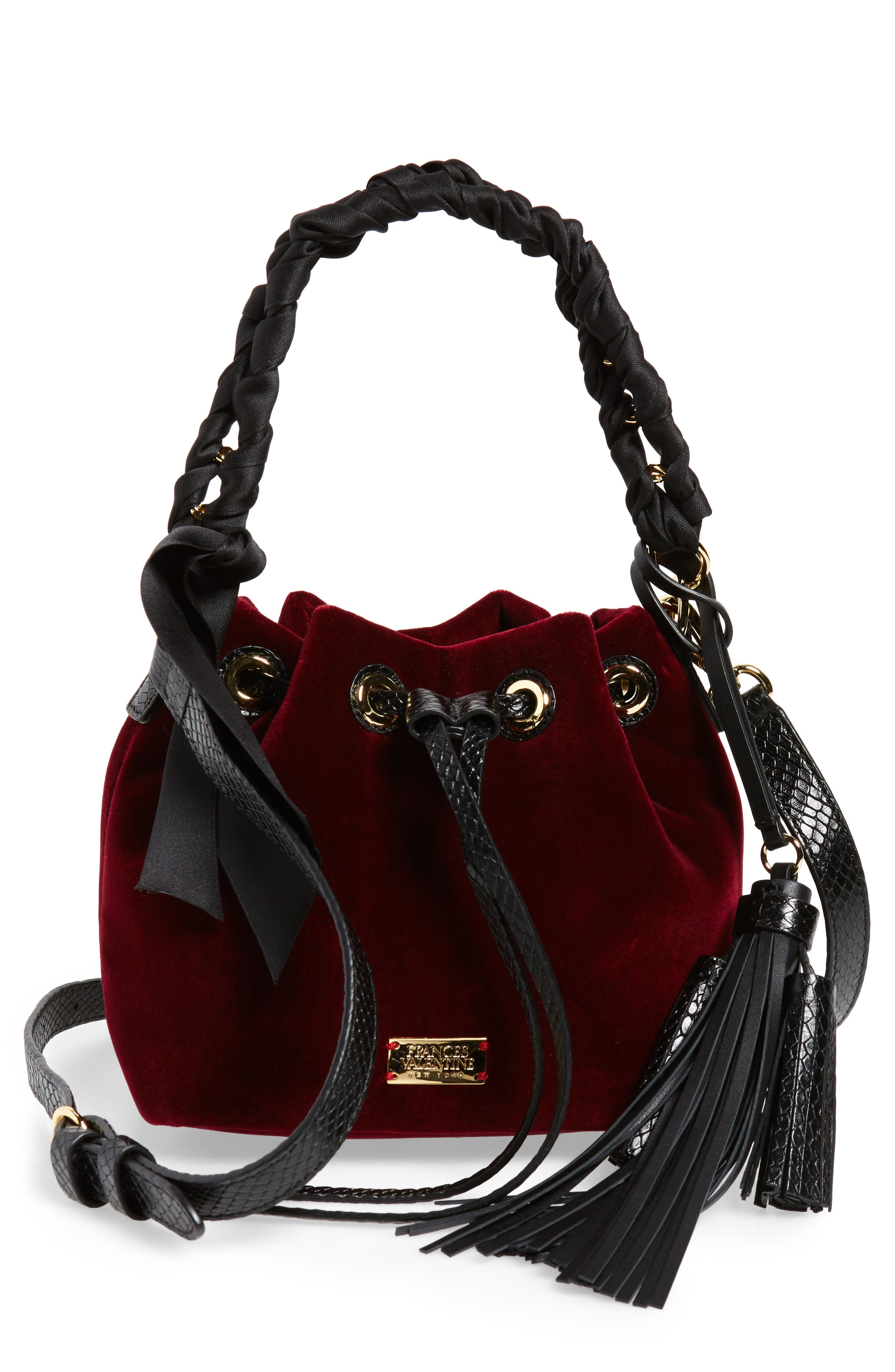 Small Velvet Bucket Bag,                             Main thumbnail 1, color,                             Burgundy