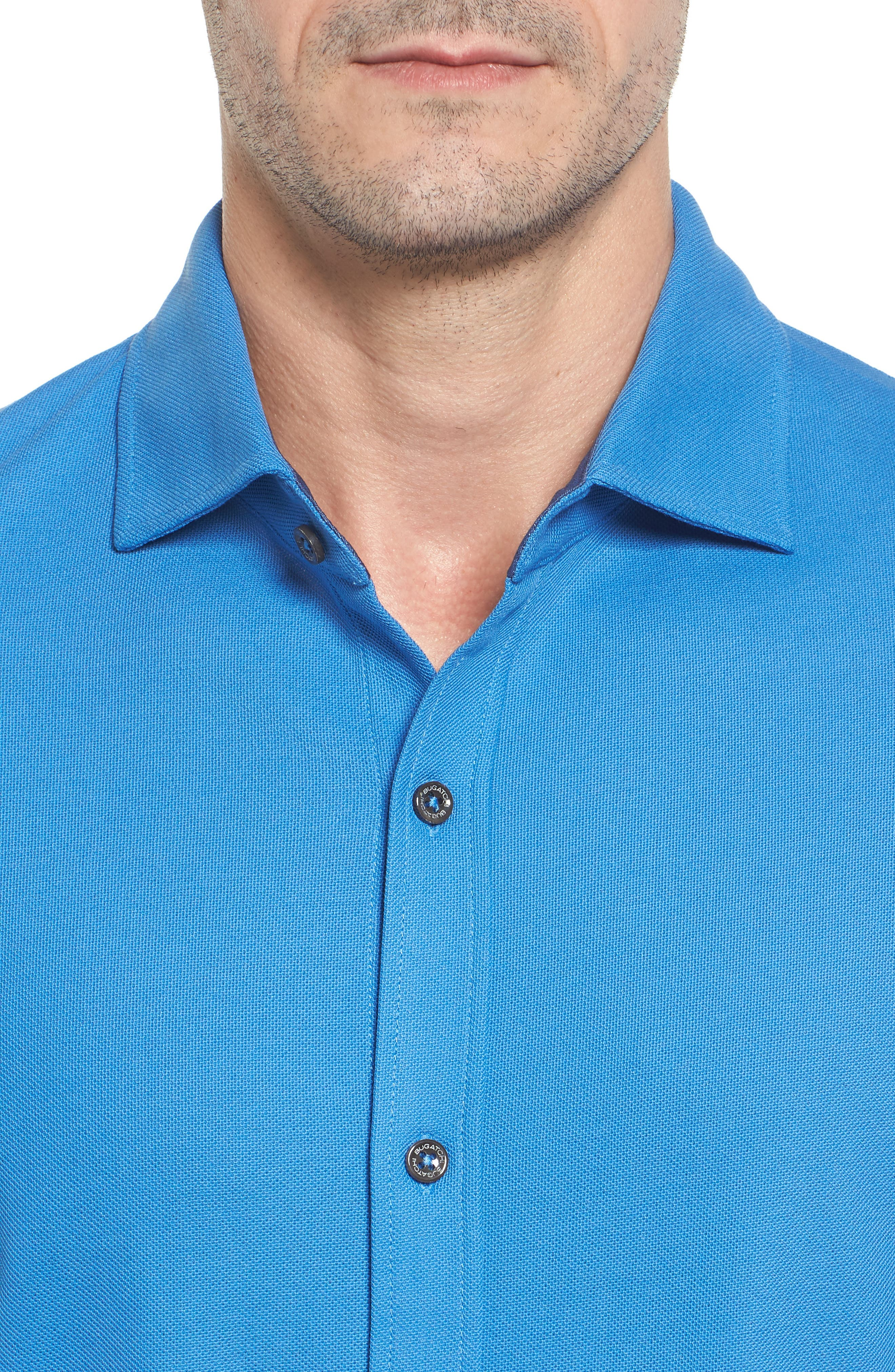 Classic Fit Piqué Knit Shirt,                             Alternate thumbnail 4, color,                             Classic Blue