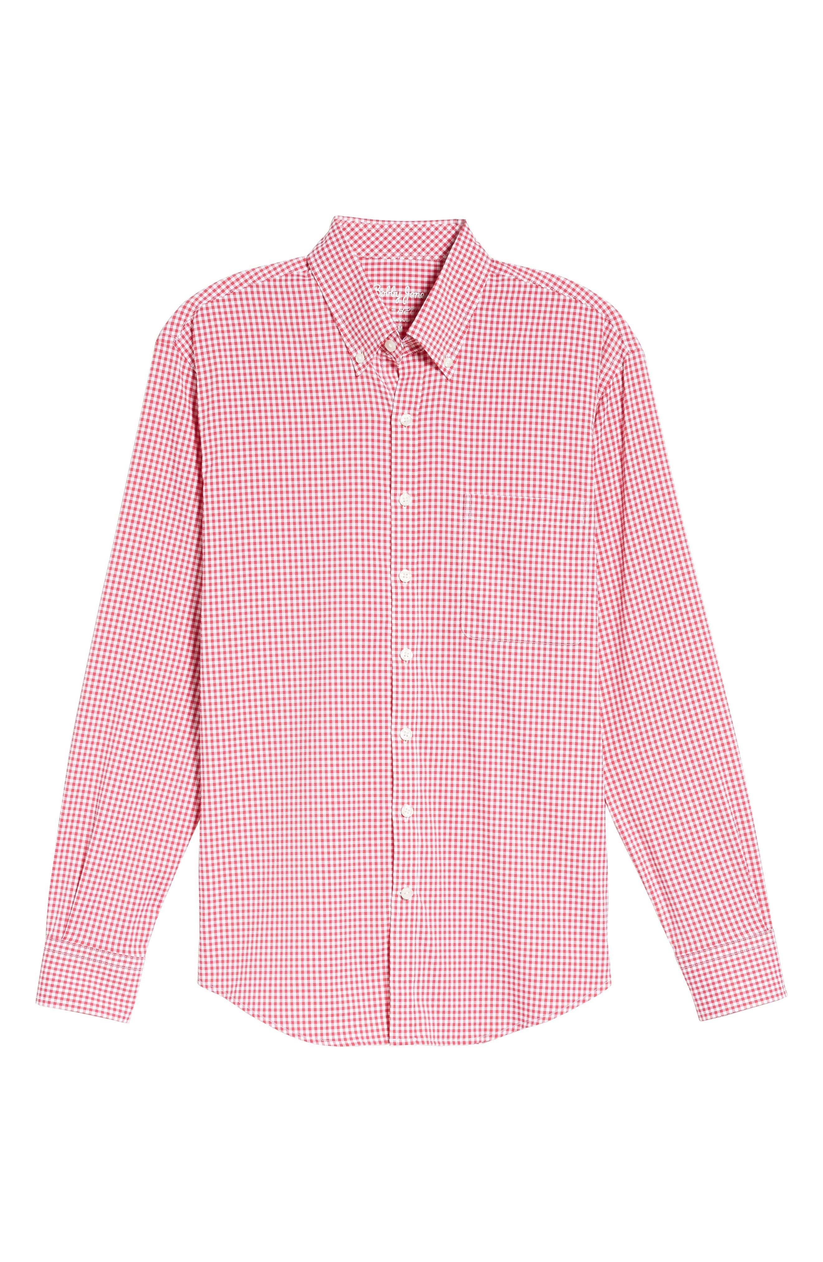 Ramsey Easy Care Gingham Sport Shirt,                             Alternate thumbnail 6, color,                             Pompei Pink