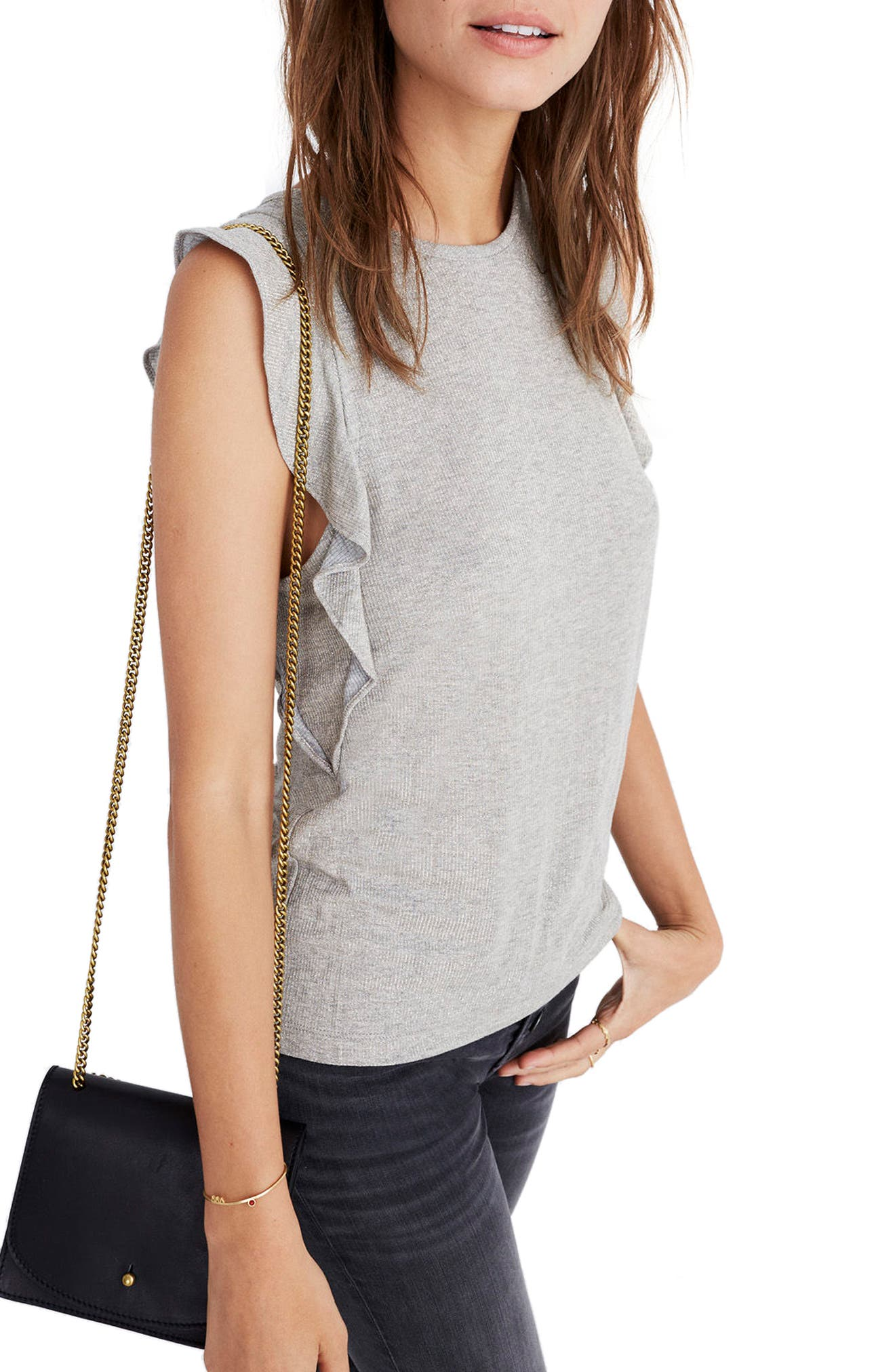 Alternate Image 1 Selected - Madewell Metallic Ruffle Tank