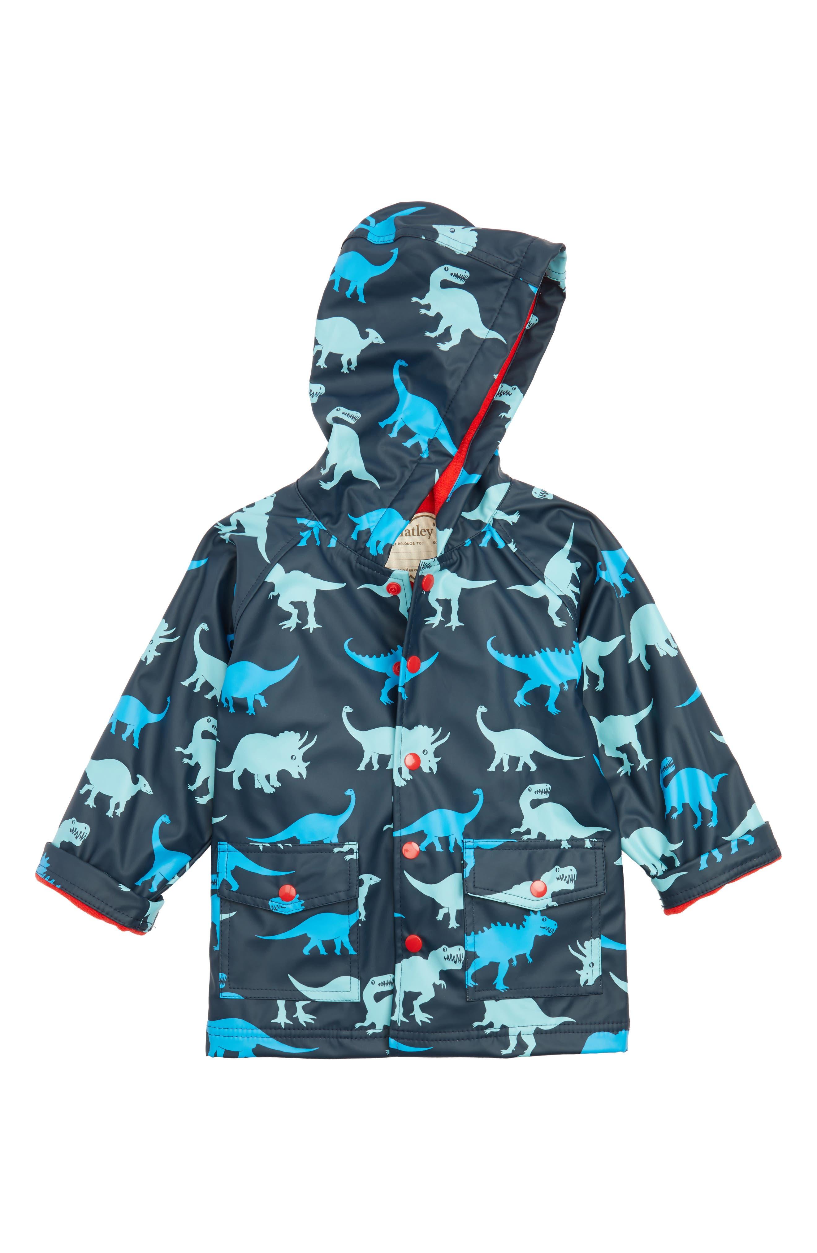 Dino Shadows Print Raincoat,                         Main,                         color, Blue
