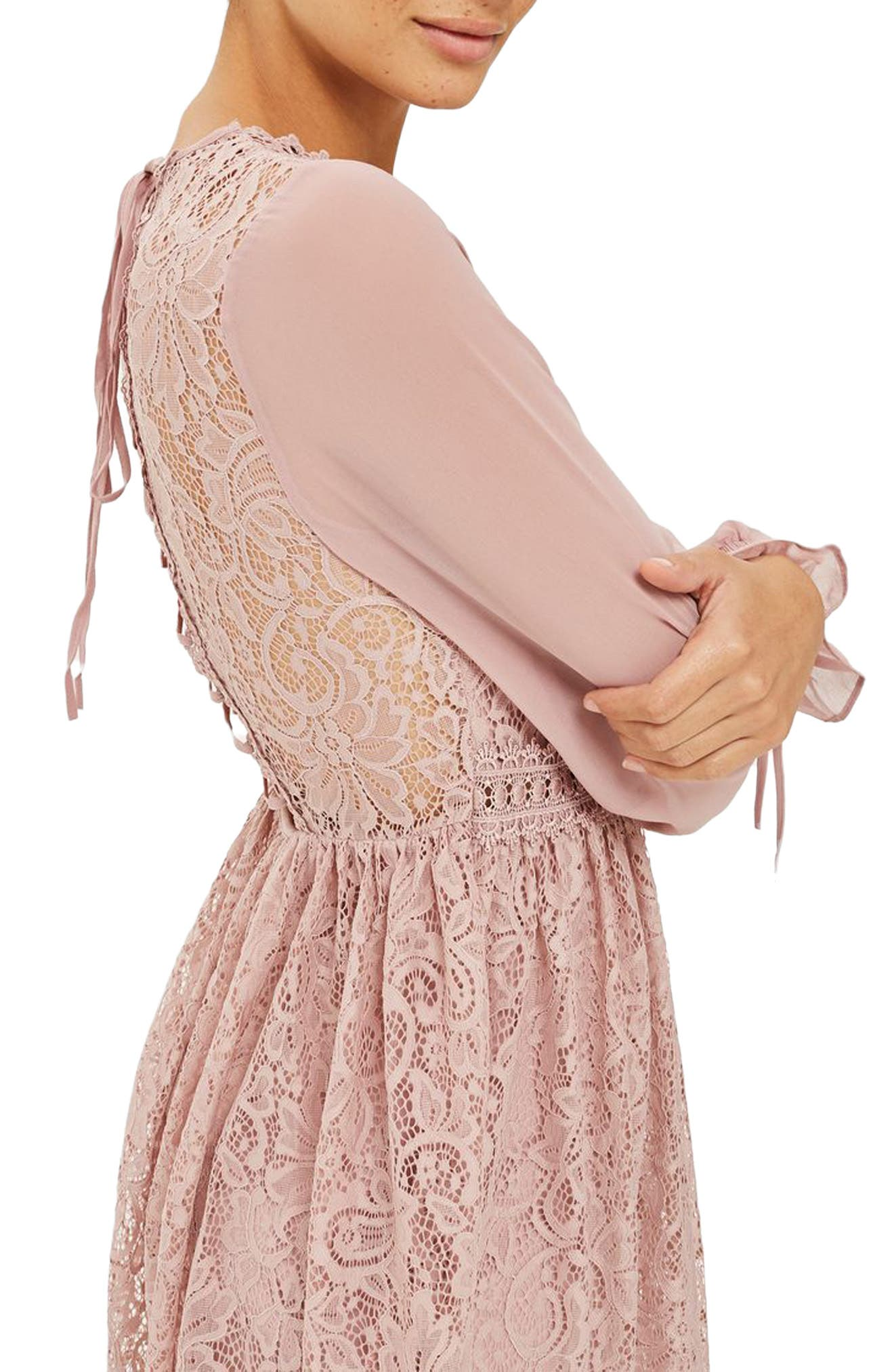 Laced Back Minidress,                             Alternate thumbnail 3, color,                             Dusty Pink