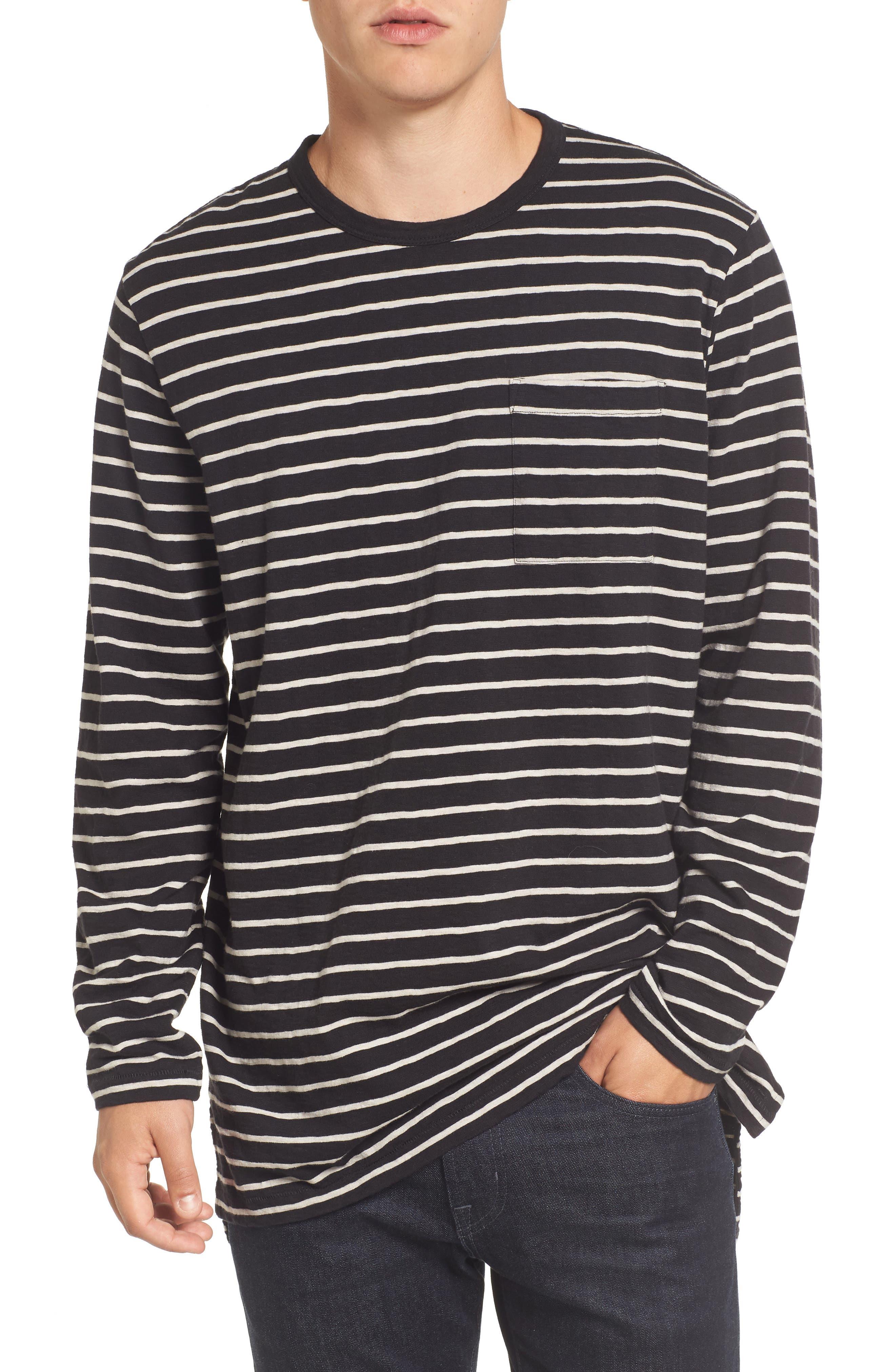 Stripe Longline T-Shirt,                             Main thumbnail 1, color,                             Black/ Clay