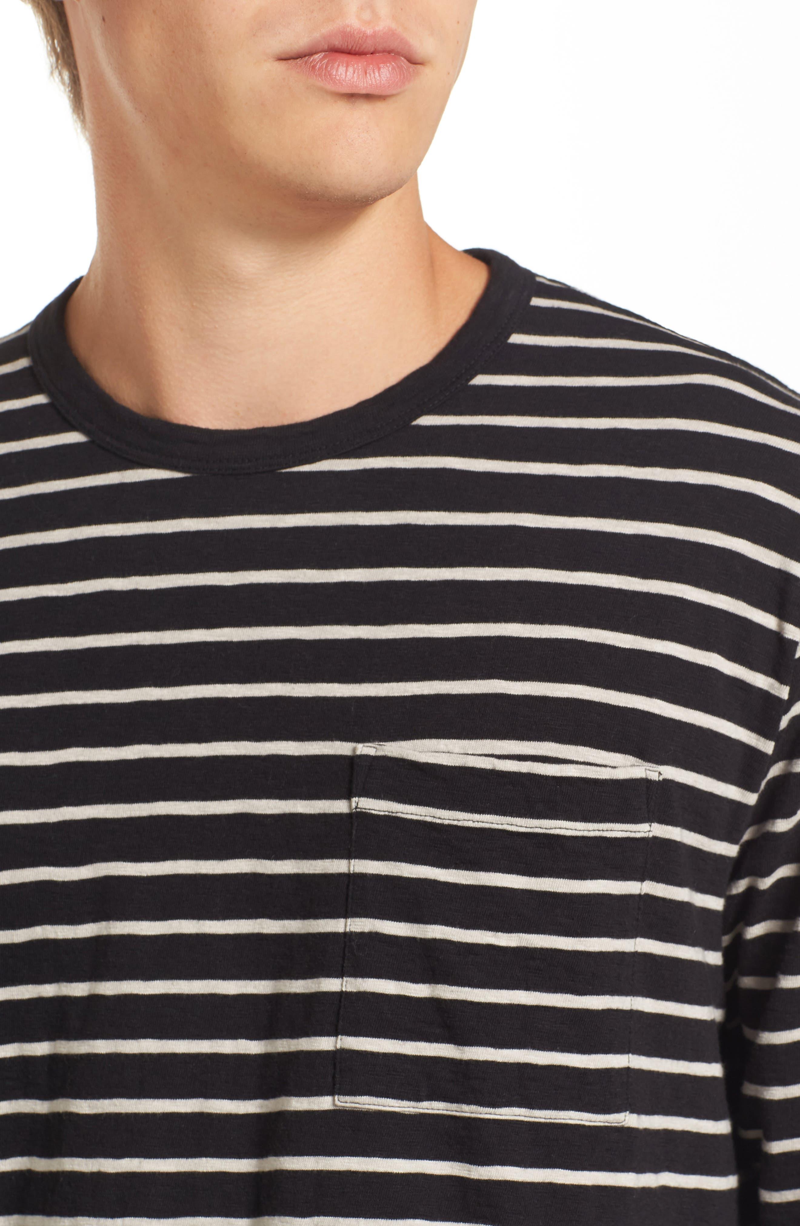 Stripe Longline T-Shirt,                             Alternate thumbnail 4, color,                             Black/ Clay
