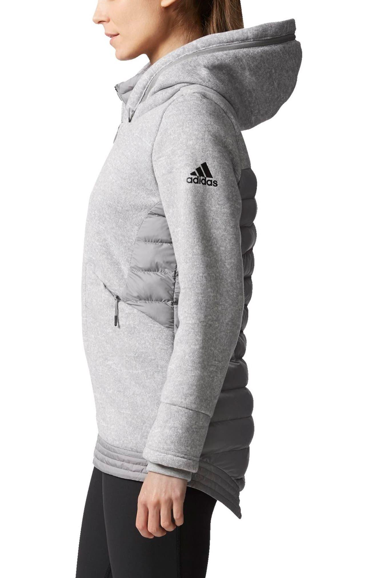 Nuvic Hybrid 2 Fleece/Puffer Jacket,                             Alternate thumbnail 3, color,                             Medium Grey Heather/Solid Grey
