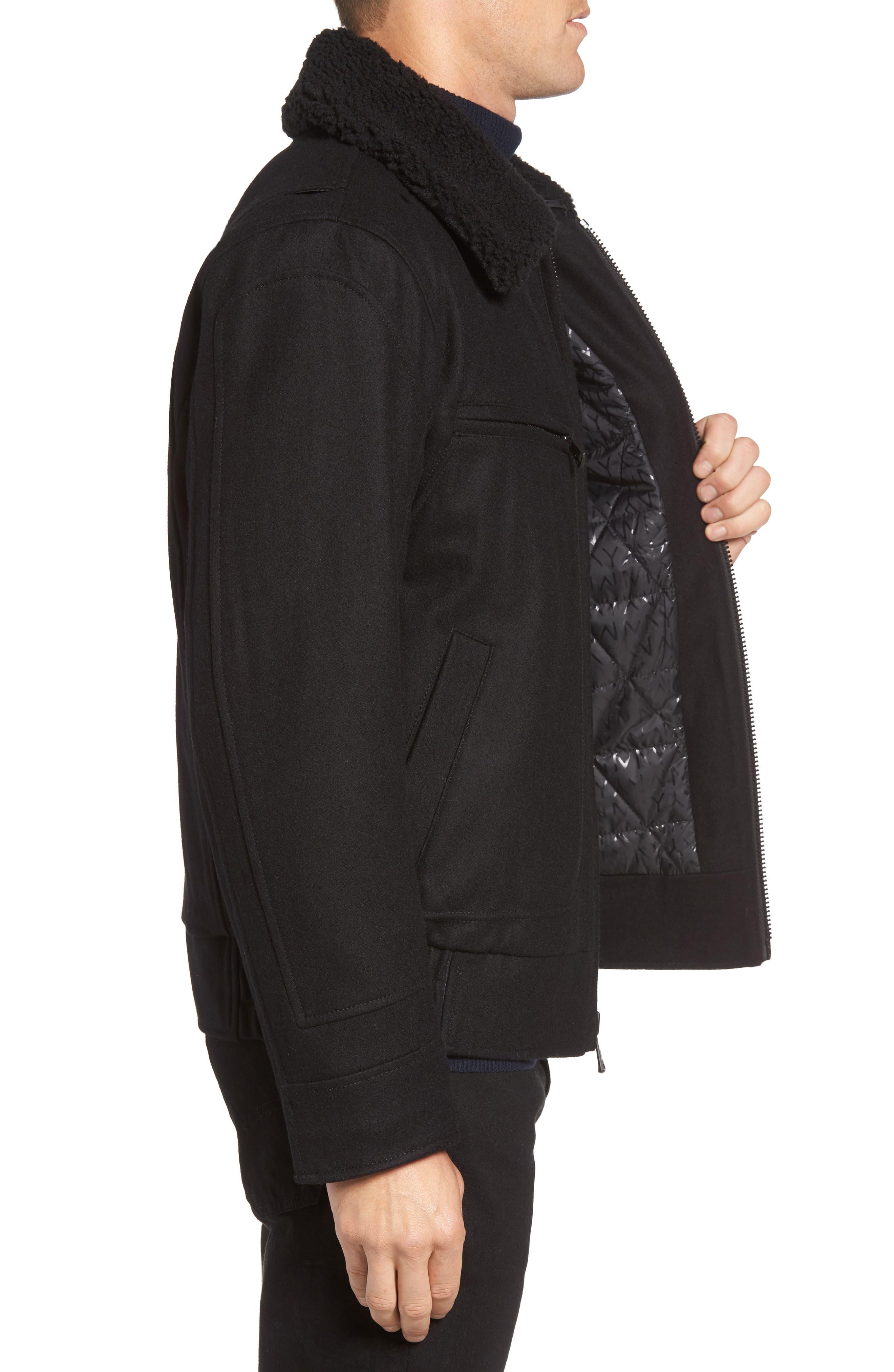 Concord Faux Shearling Aviator Jacket,                             Alternate thumbnail 3, color,                             Black