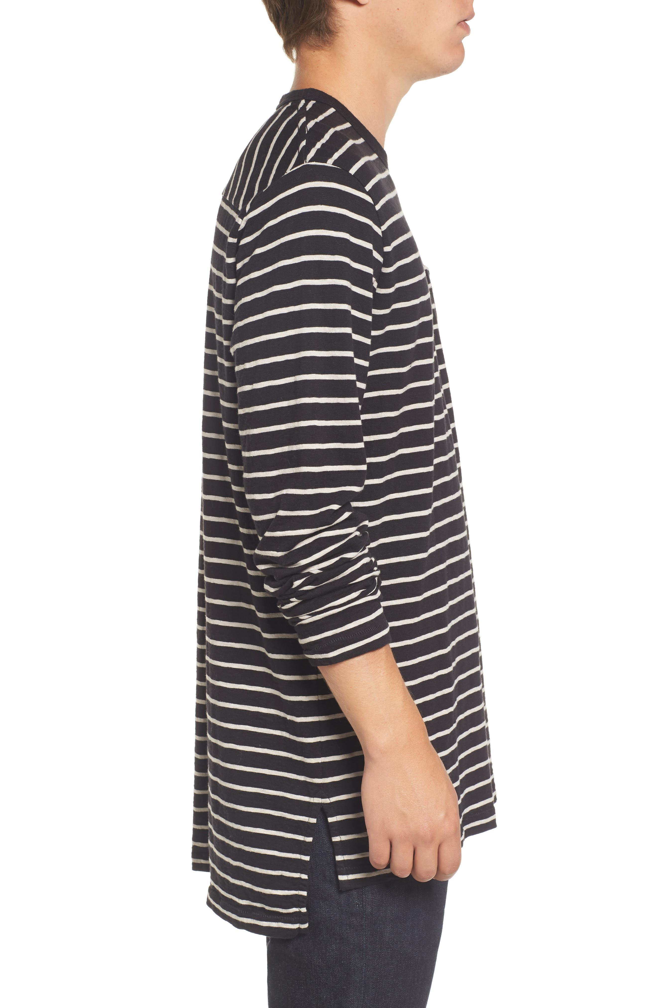Stripe Longline T-Shirt,                             Alternate thumbnail 3, color,                             Black/ Clay
