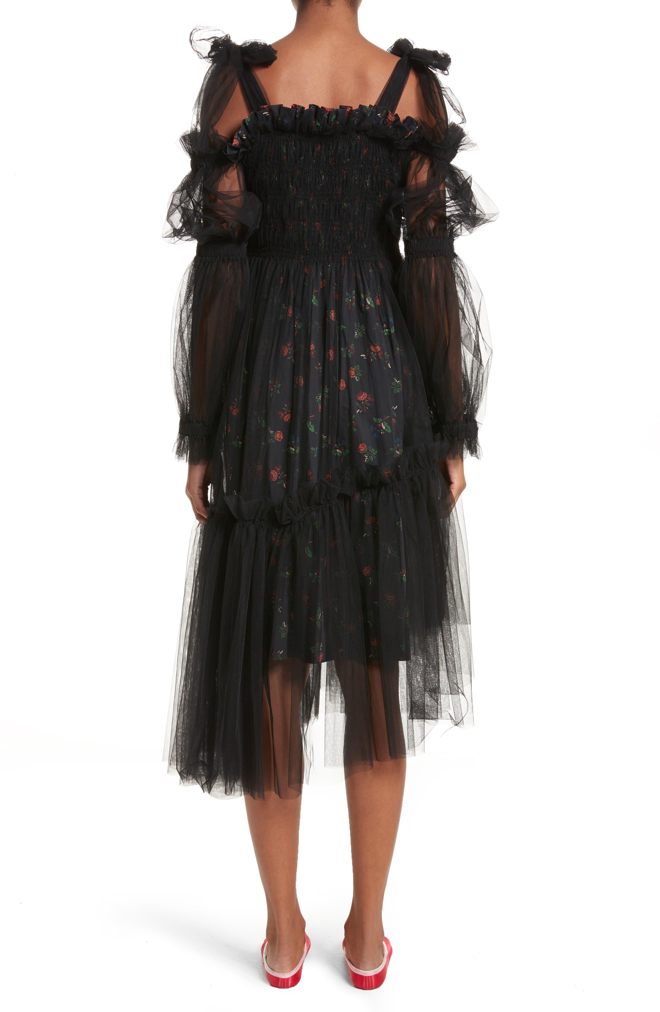 Ruby Tulle Floral Dress,                             Alternate thumbnail 2, color,                             Black