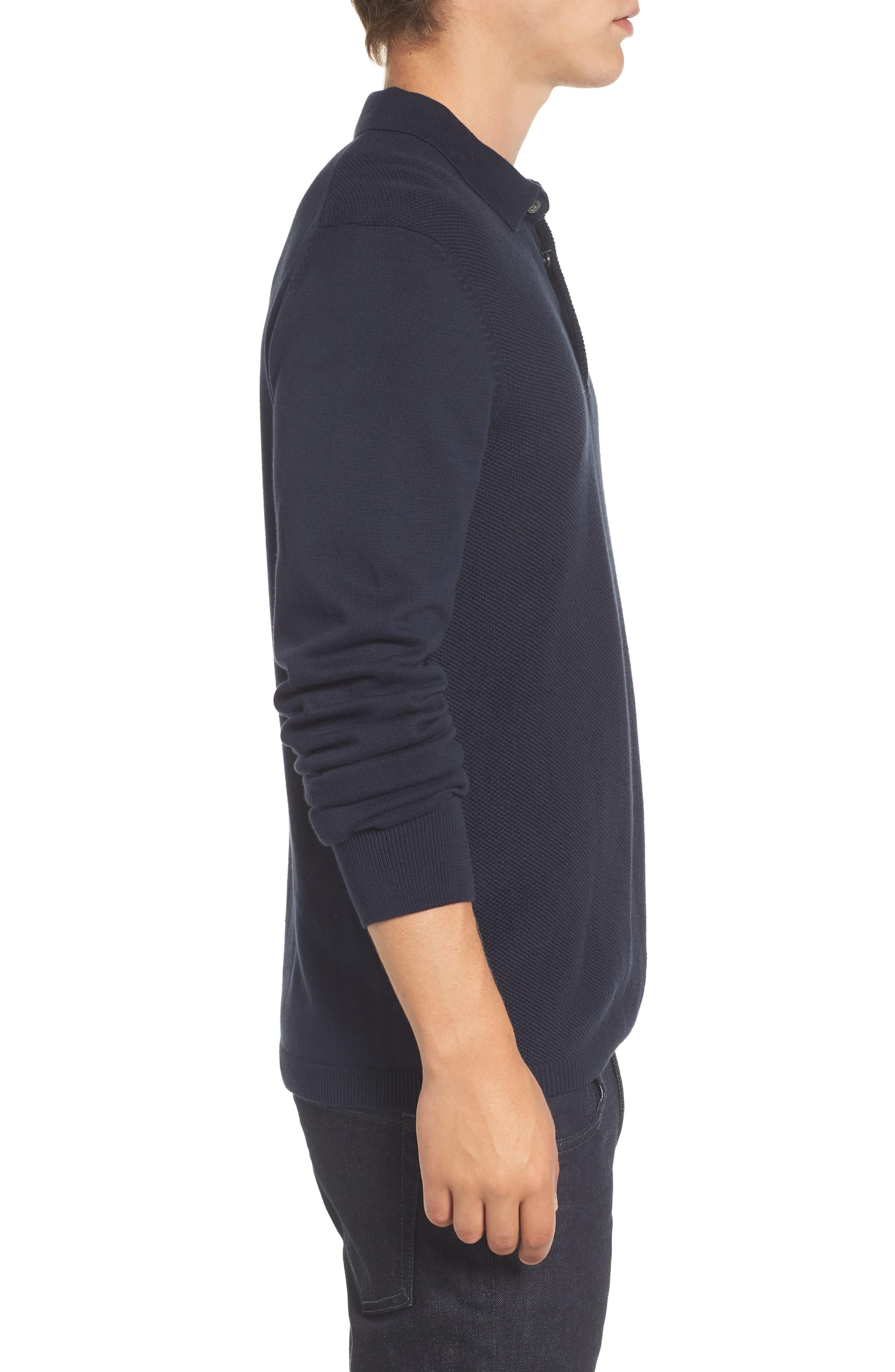 Textured Long Sleeve Polo,                             Alternate thumbnail 3, color,                             Marine Blue
