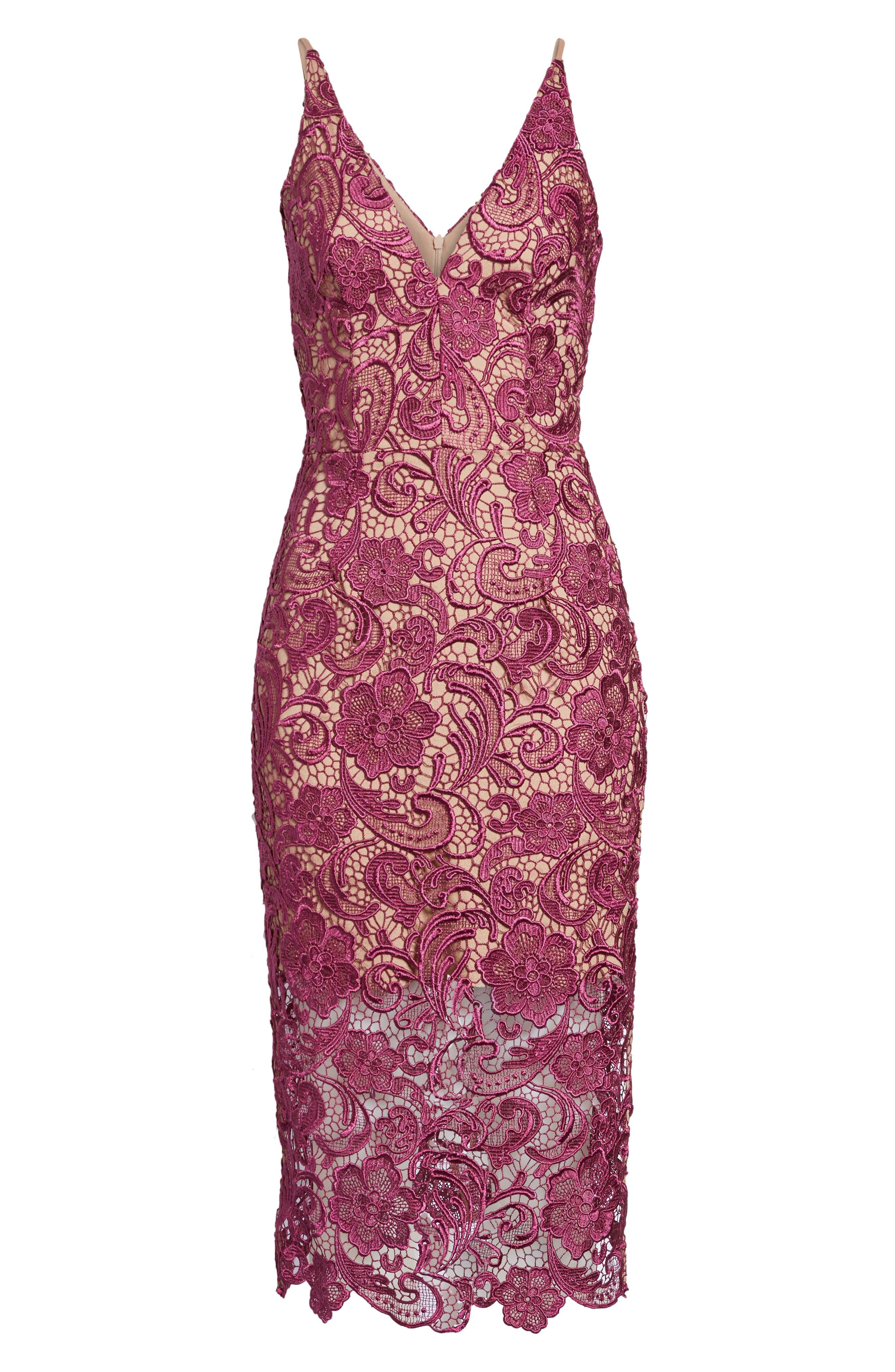 Alternate Image 6  - Dress the Population 'Marie' Lace Midi Dress