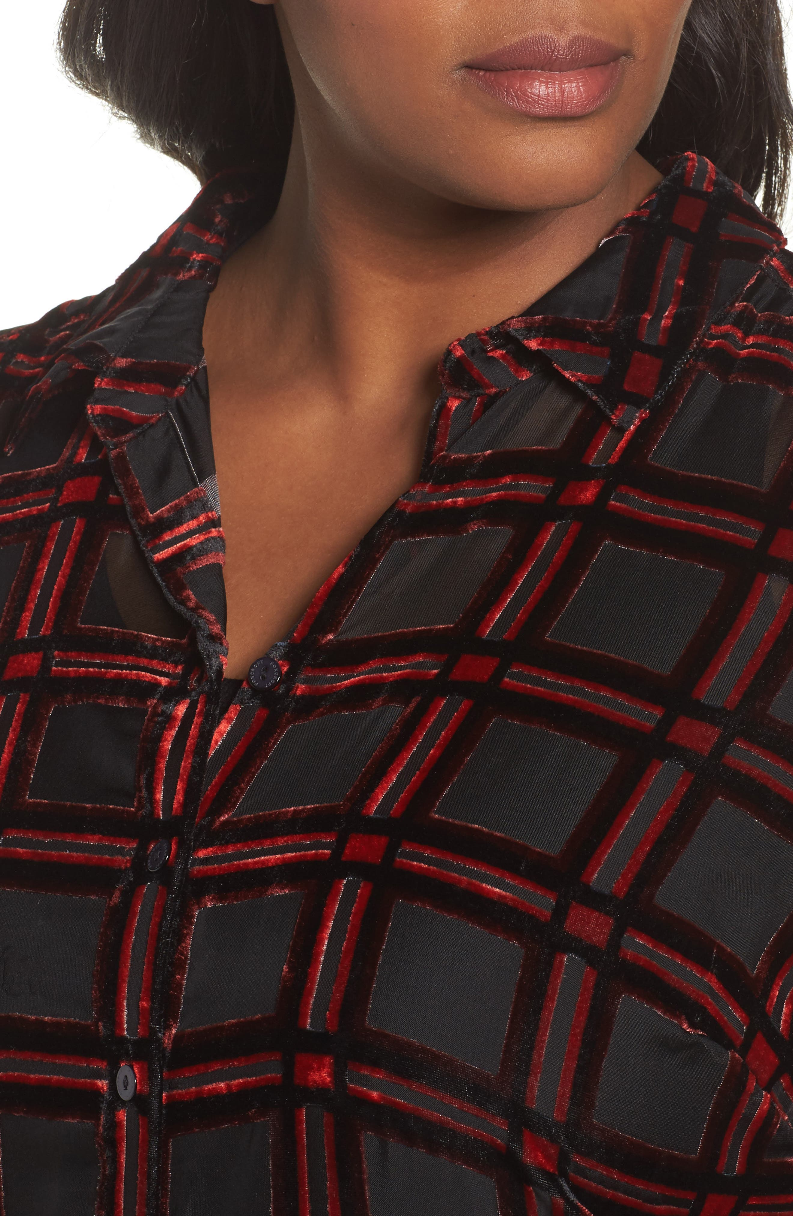 Alternate Image 4  - Foxcroft Jade Burnout Tartan Shirt (Plus Size)