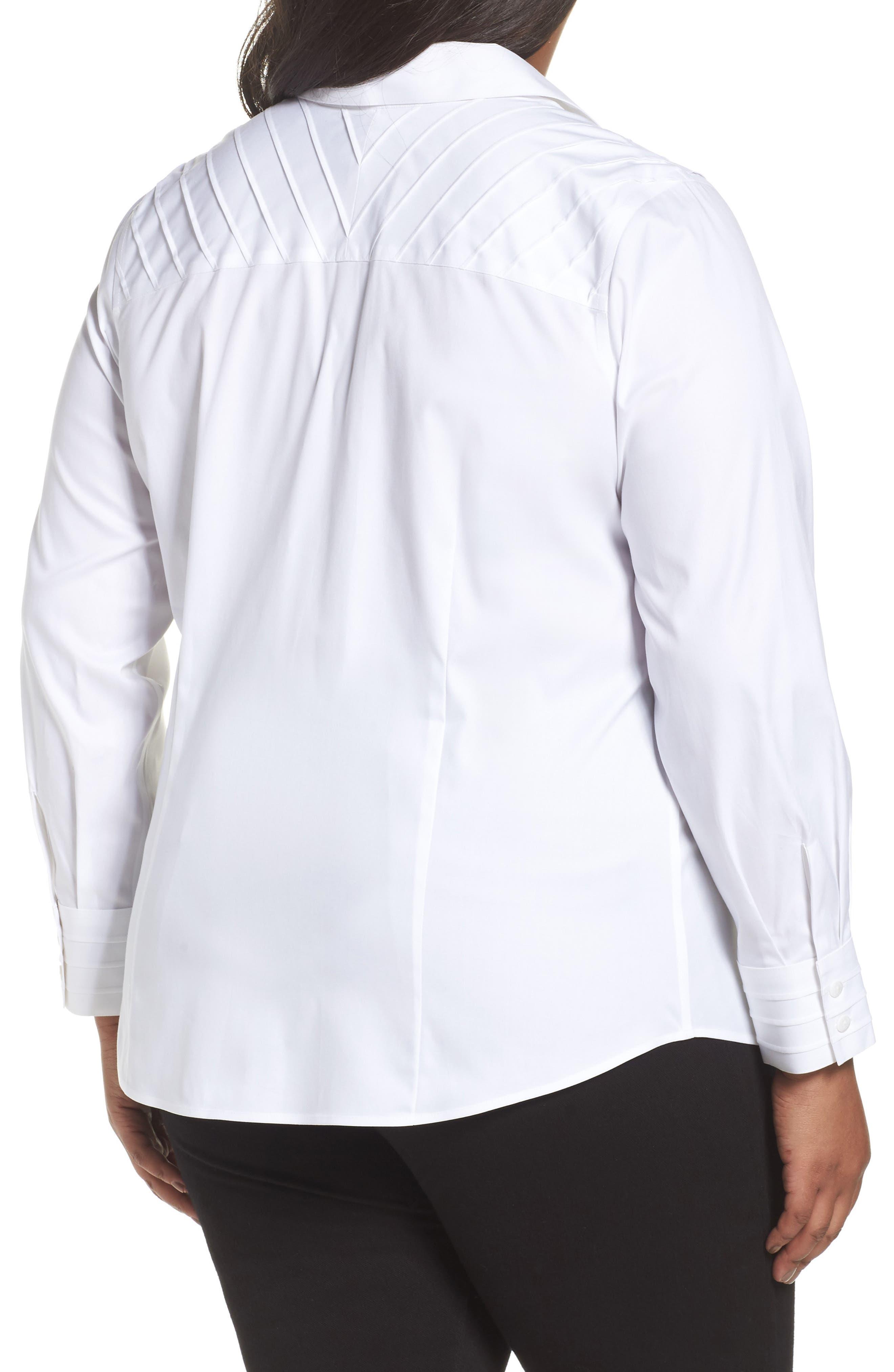 Alternate Image 2  - Foxcroft Rita Solid Stretch Cotton Top (Plus Size)