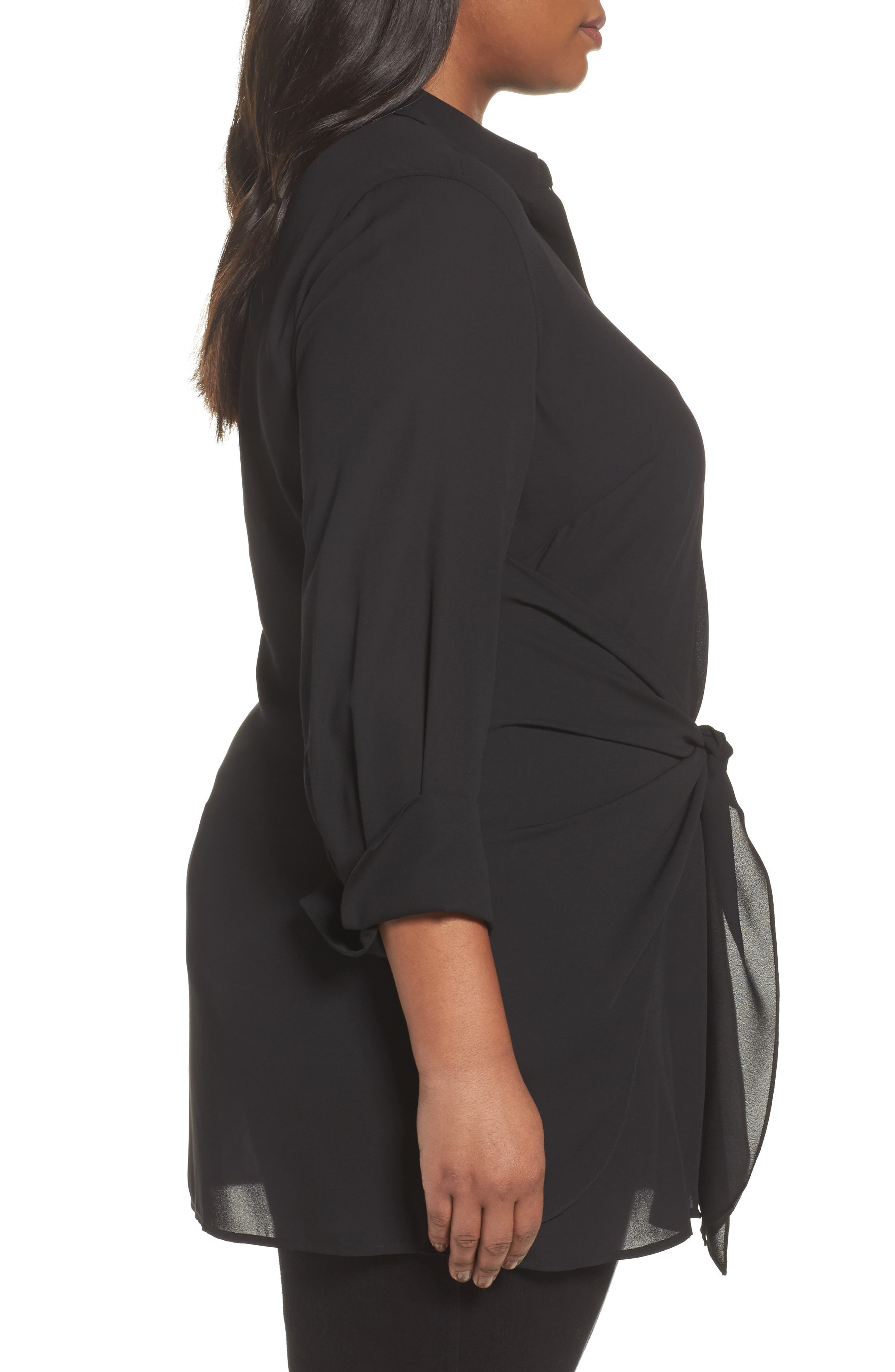 Alternate Image 3  - Foxcroft Serena Knotted Crepe Tunic Blouse (Plus Size)