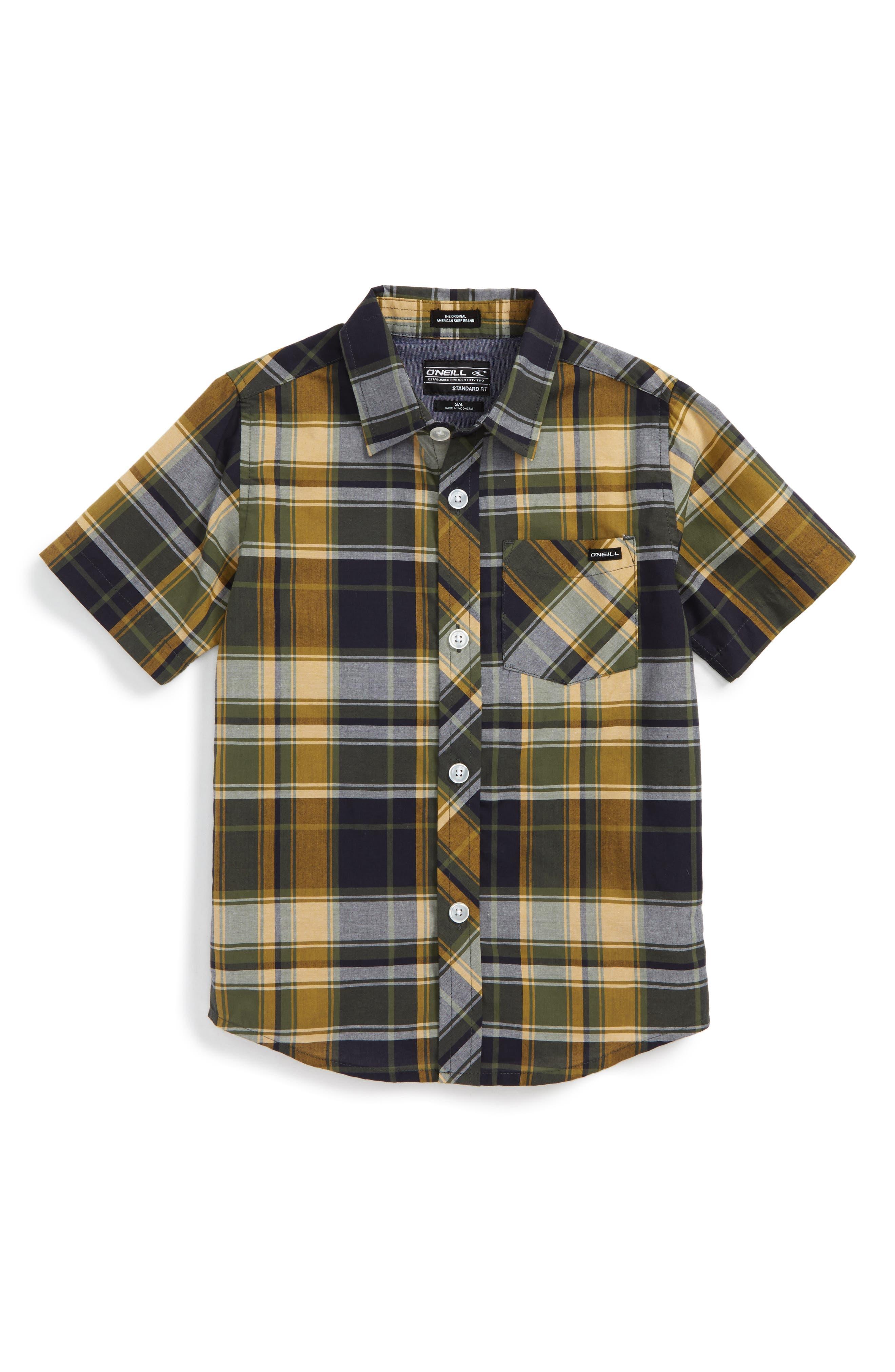 O'Neill Short Sleeve Plaid Shirt (Toddler Boys & Little Boys)