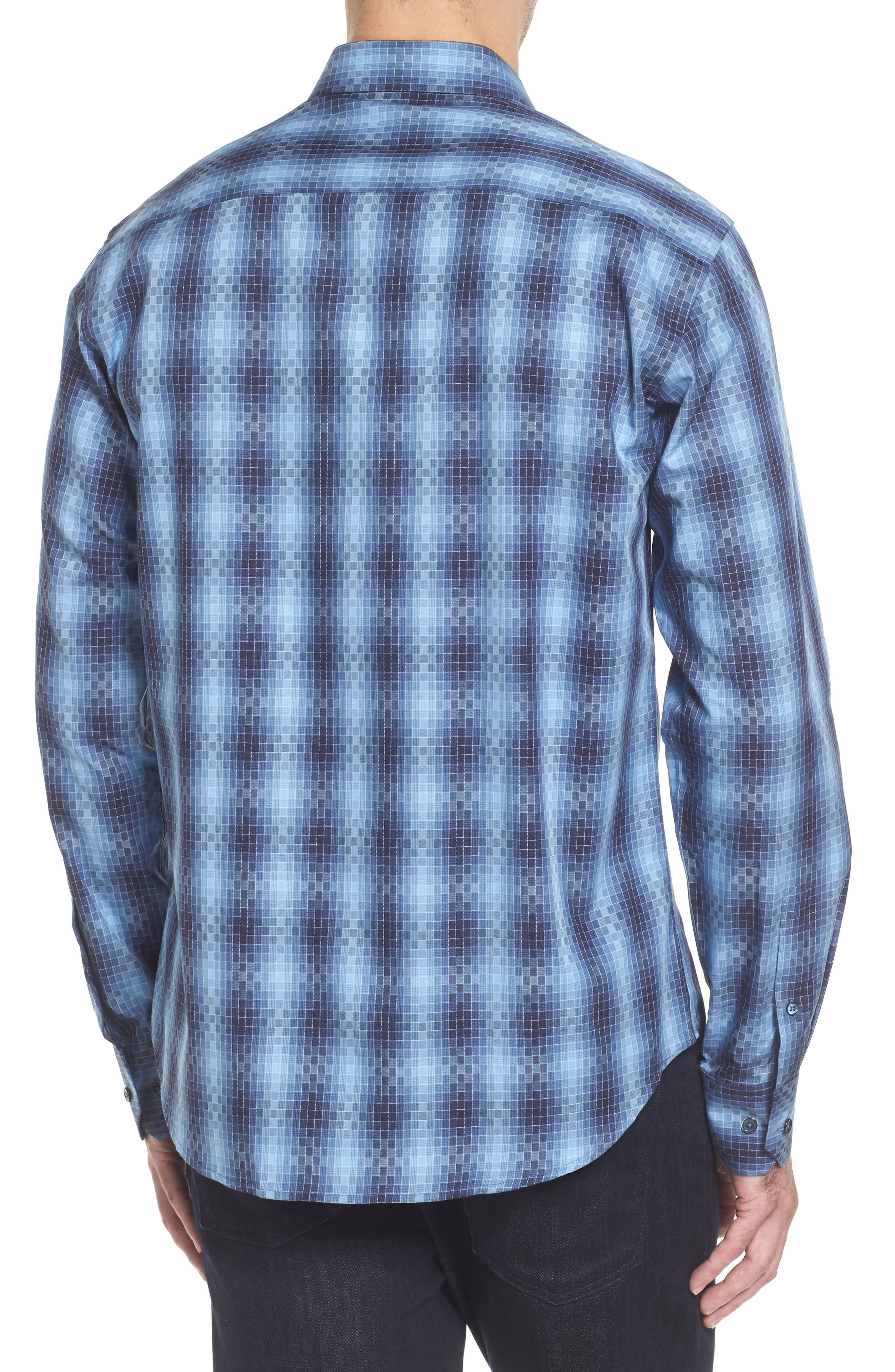 Slim Fit Gradient Check Sport Shirt,                             Alternate thumbnail 2, color,                             Cobalt