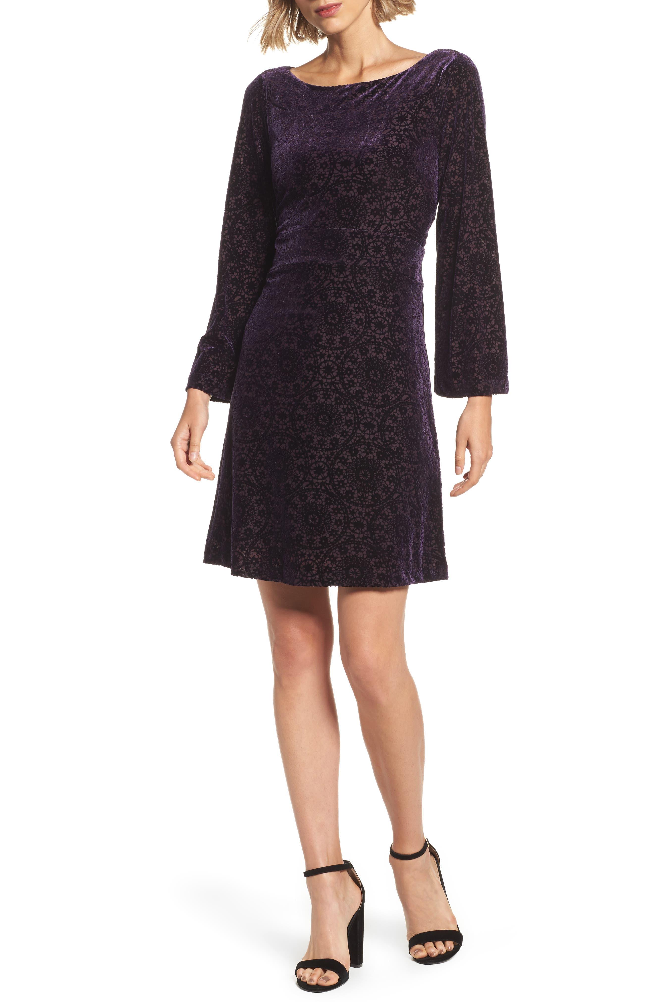 Velvet Burnout Bell Sleeve Dress,                         Main,                         color, Eggplant