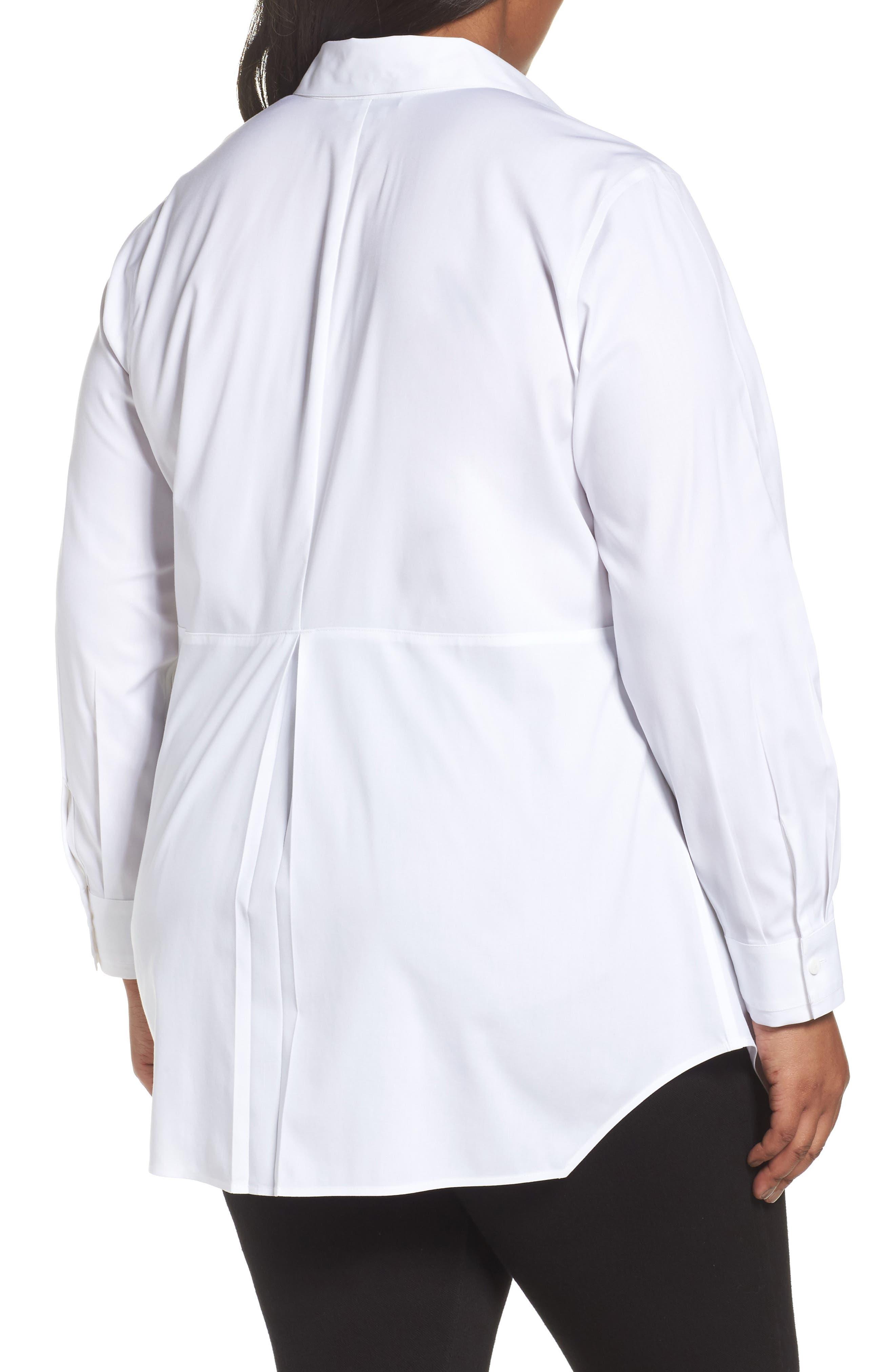 Alternate Image 2  - Foxcroft Sheri Stretch Cotton Shirt (Plus Size)