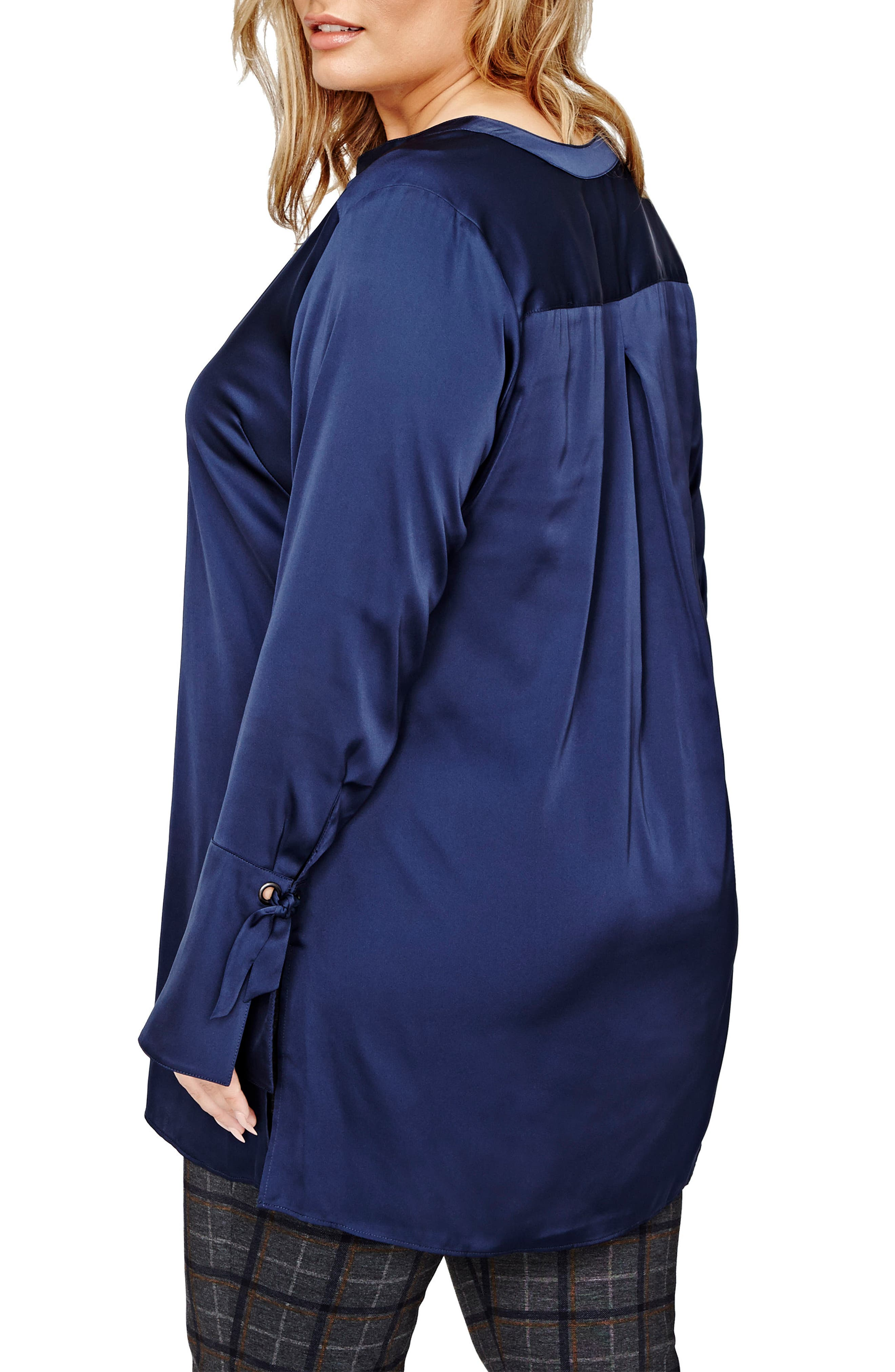 Bell Sleeve Tunic Shirt,                             Alternate thumbnail 2, color,                             Navy Iris