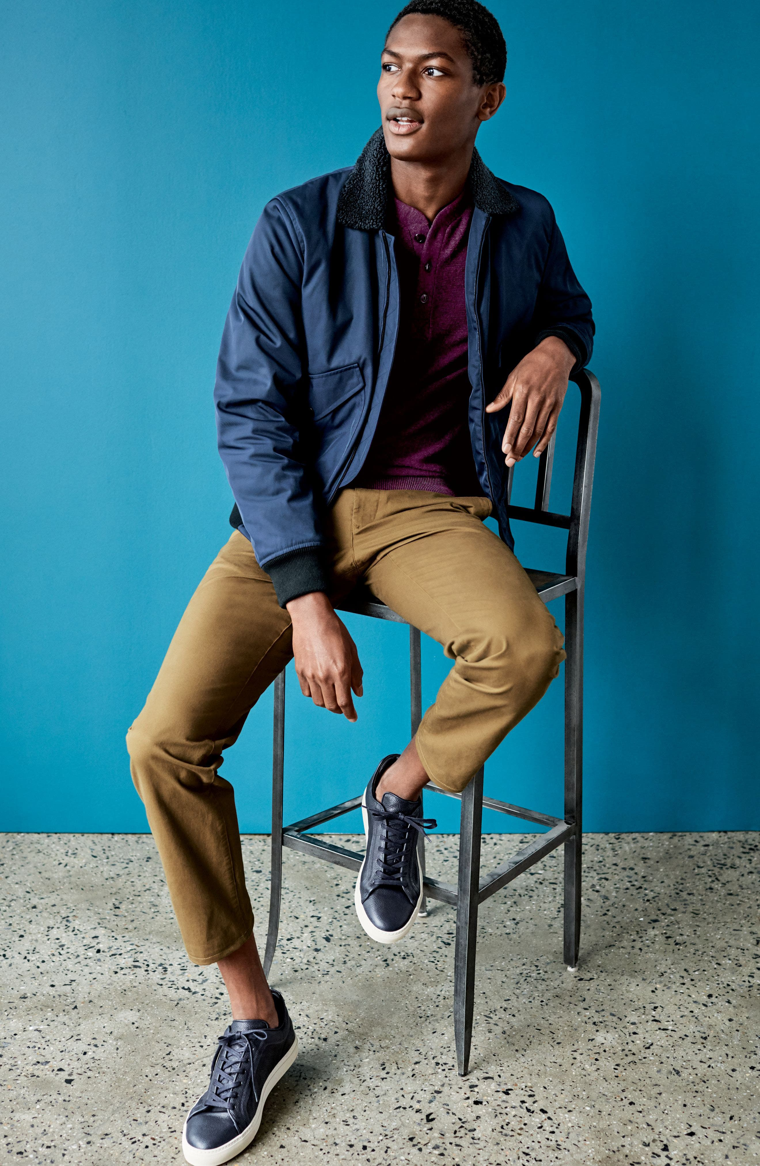 Slim Fit Merino Long Sleeve Henley Sweater,                             Alternate thumbnail 6, color,