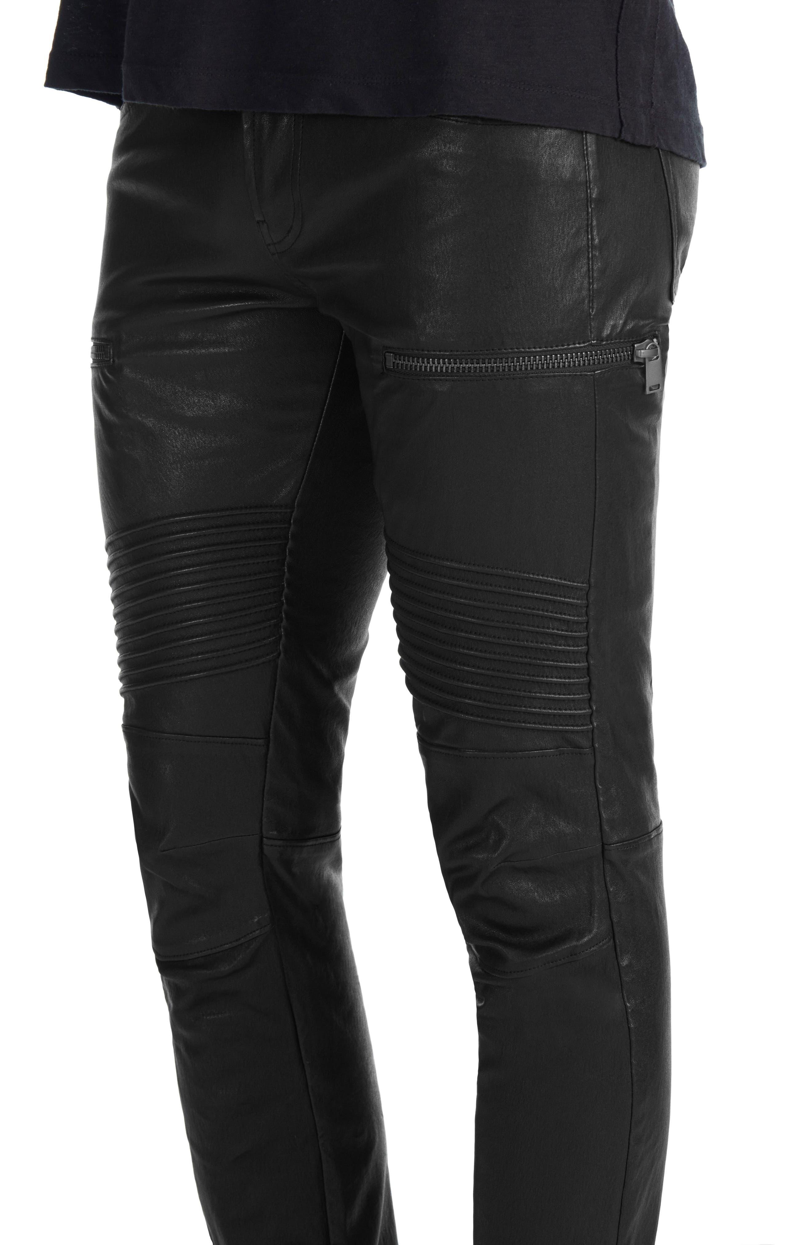 Acrux Skinny Leg Leather Pants,                             Alternate thumbnail 4, color,                             Black