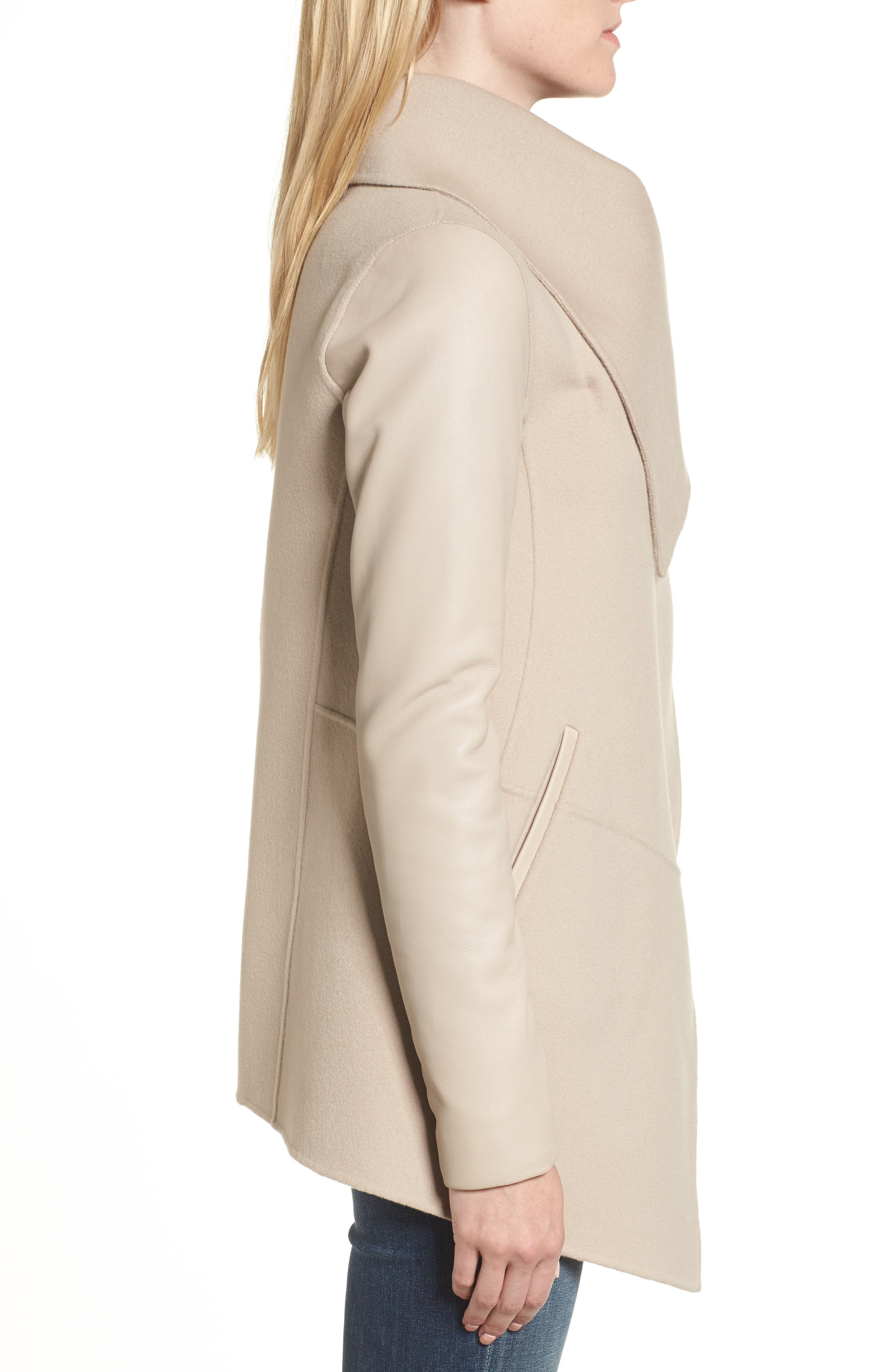 Vane Asymmetrical Leather Sleeve Coat,                             Alternate thumbnail 3, color,                             Sand