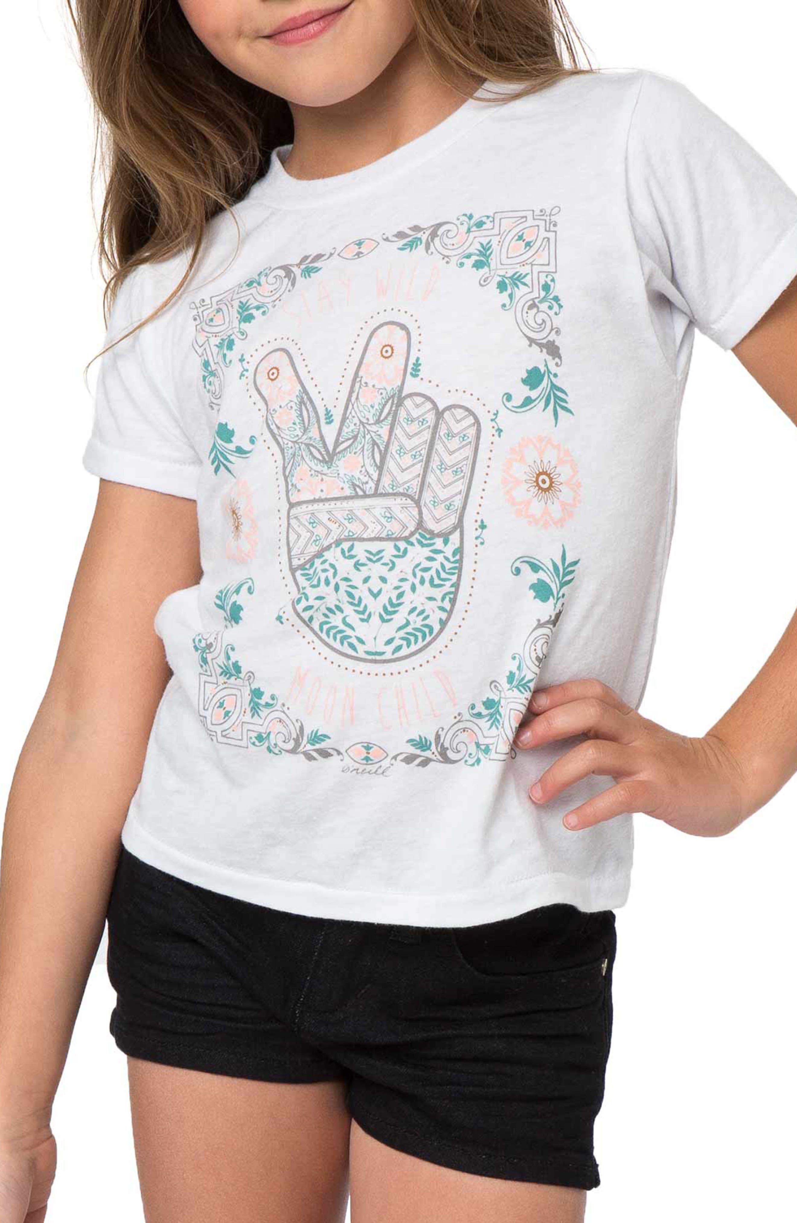 Alternate Image 1 Selected - O'Neill Stay Wild Moon Child Graphic Print Tee (Toddler Girls & Little Girls)