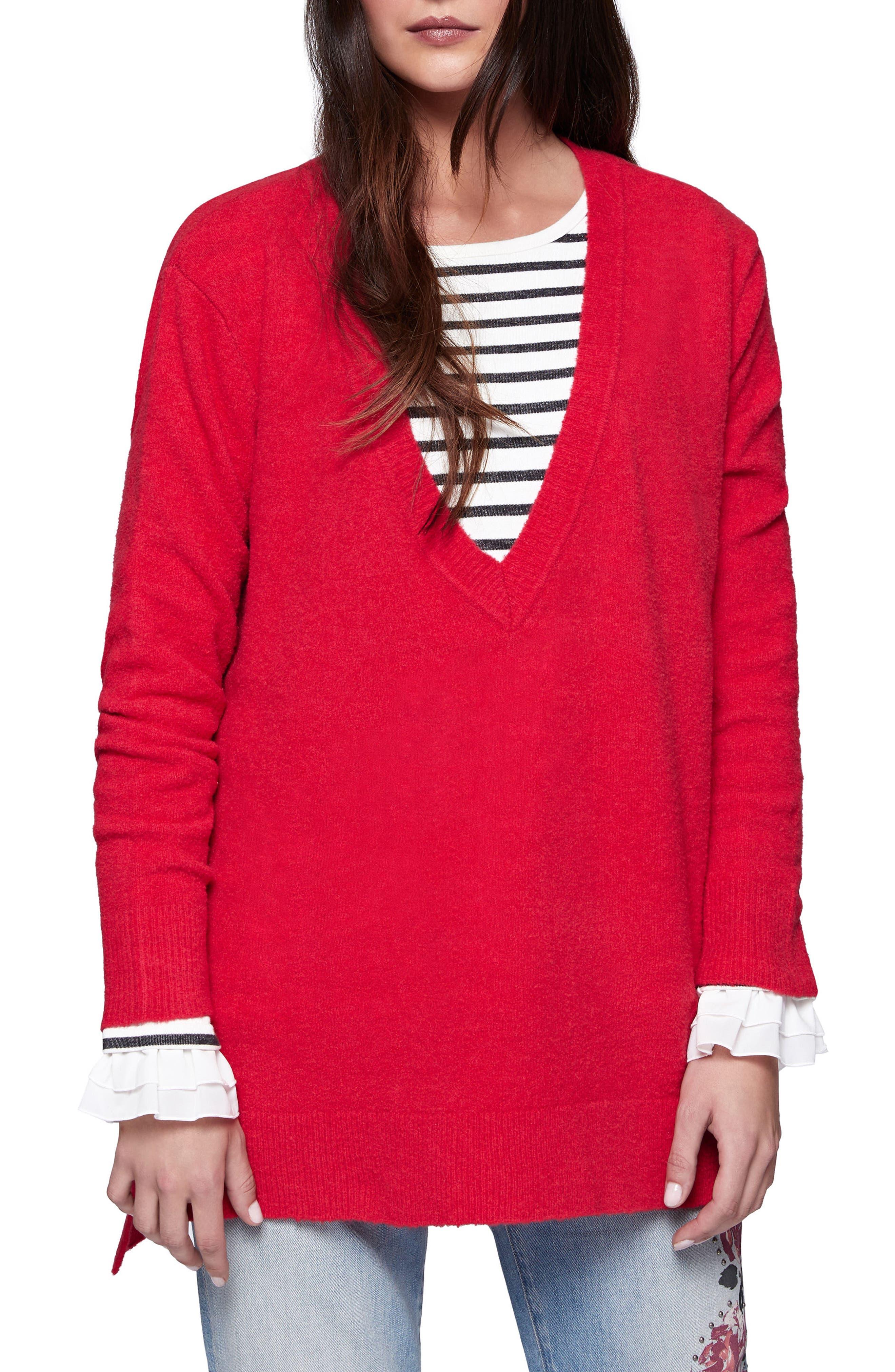 Santuary Delancey V-Neck Sweater,                         Main,                         color, Parise Rose