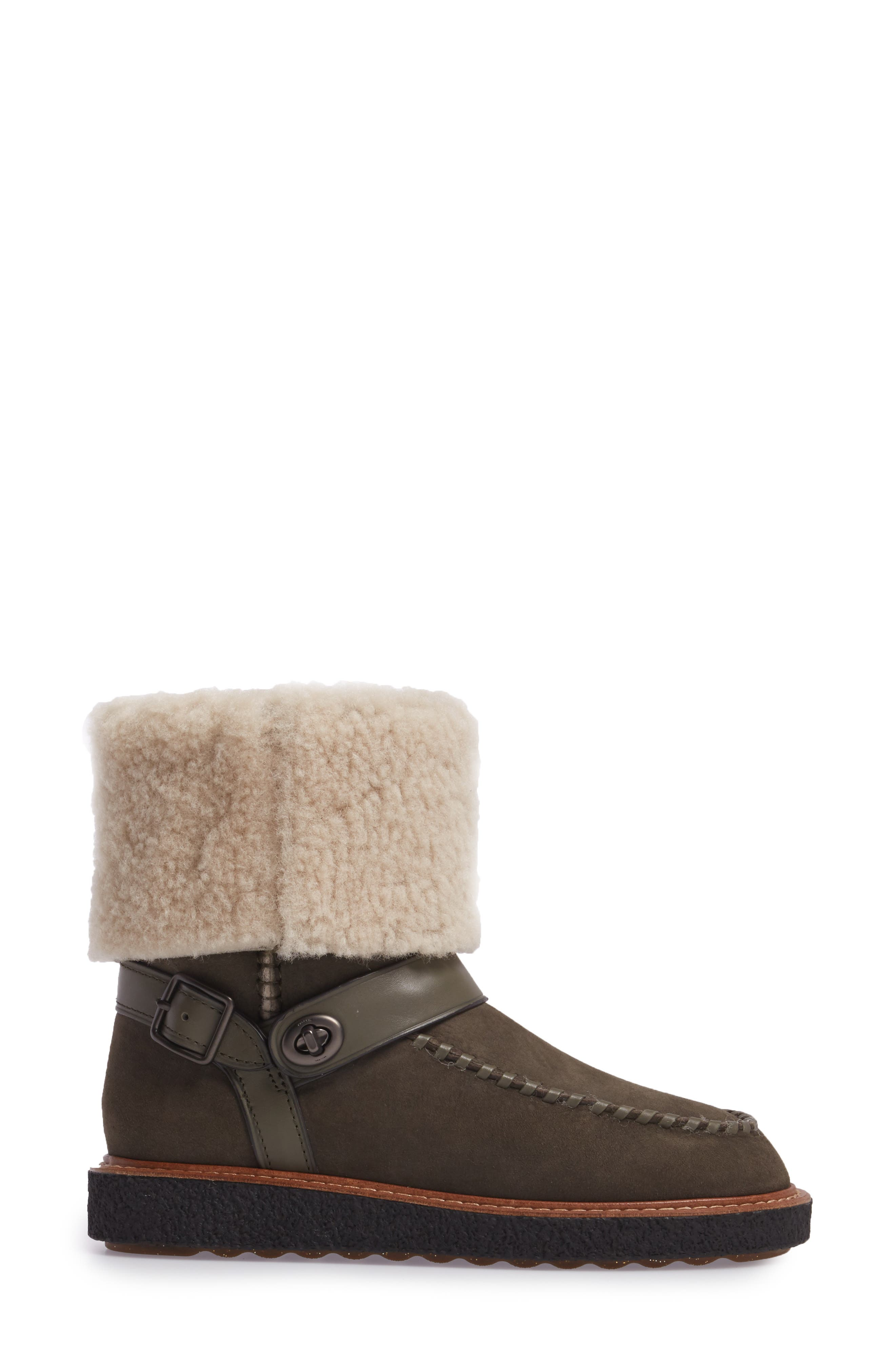 Genuine Shearling Moto Boot,                             Alternate thumbnail 3, color,                             Olive Suede