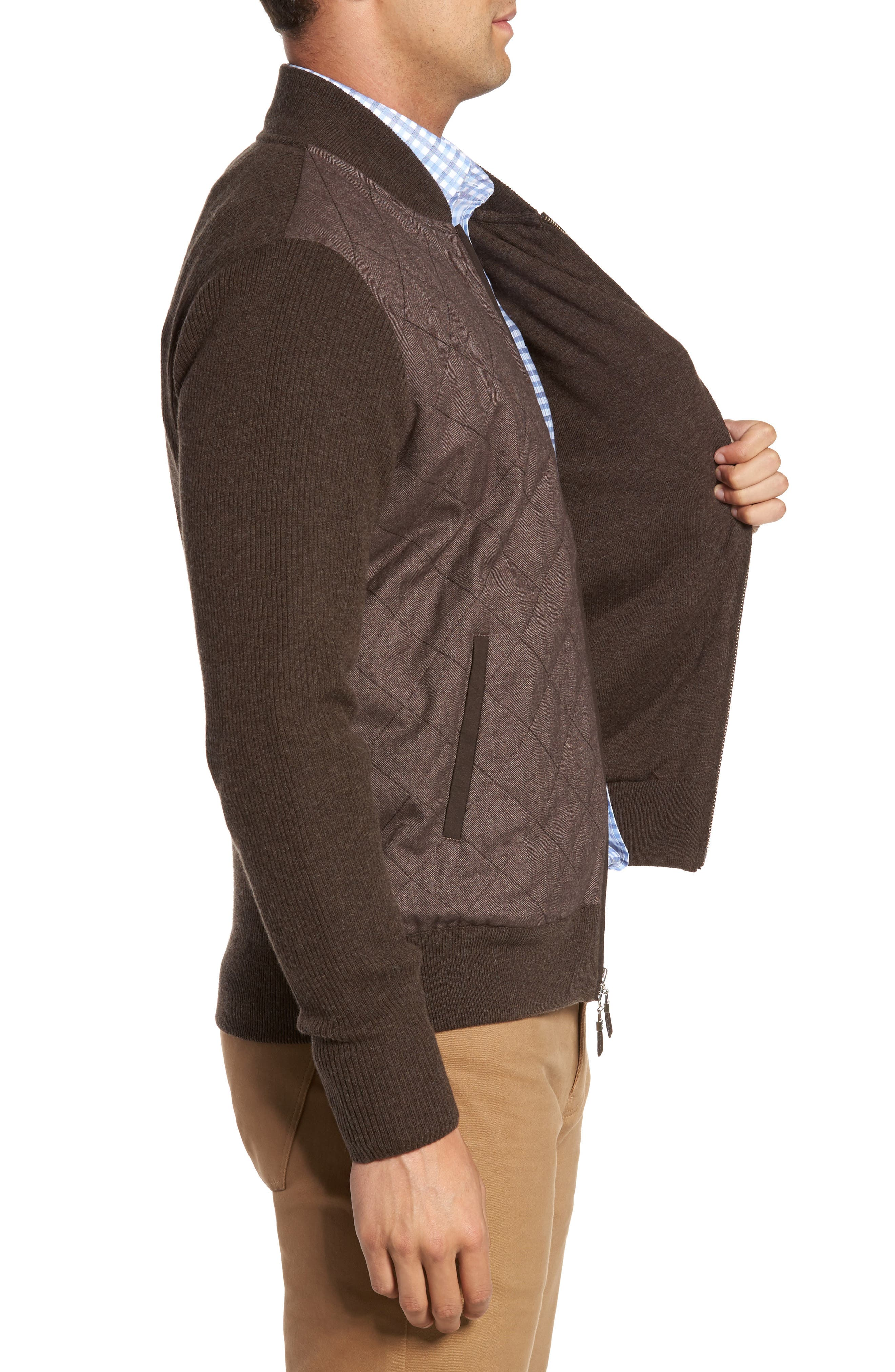 Crown Quilt Front Merino Wool Blend Cardigan,                             Alternate thumbnail 3, color,                             Canopy Brown